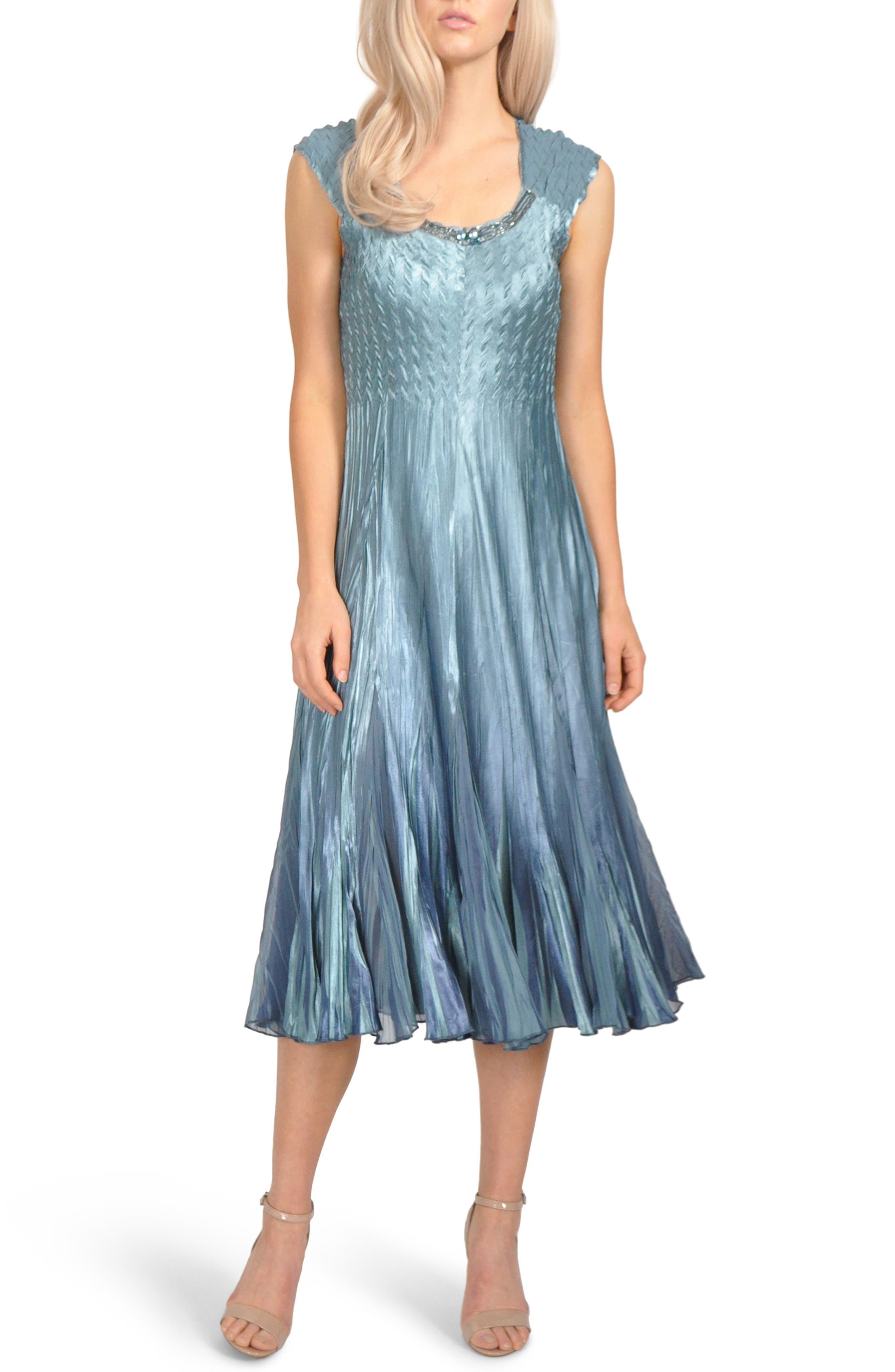 Embellished Pleat Mixed Media Dress with Jacket,                             Alternate thumbnail 4, color,                             SILVER BLUE OMBRE