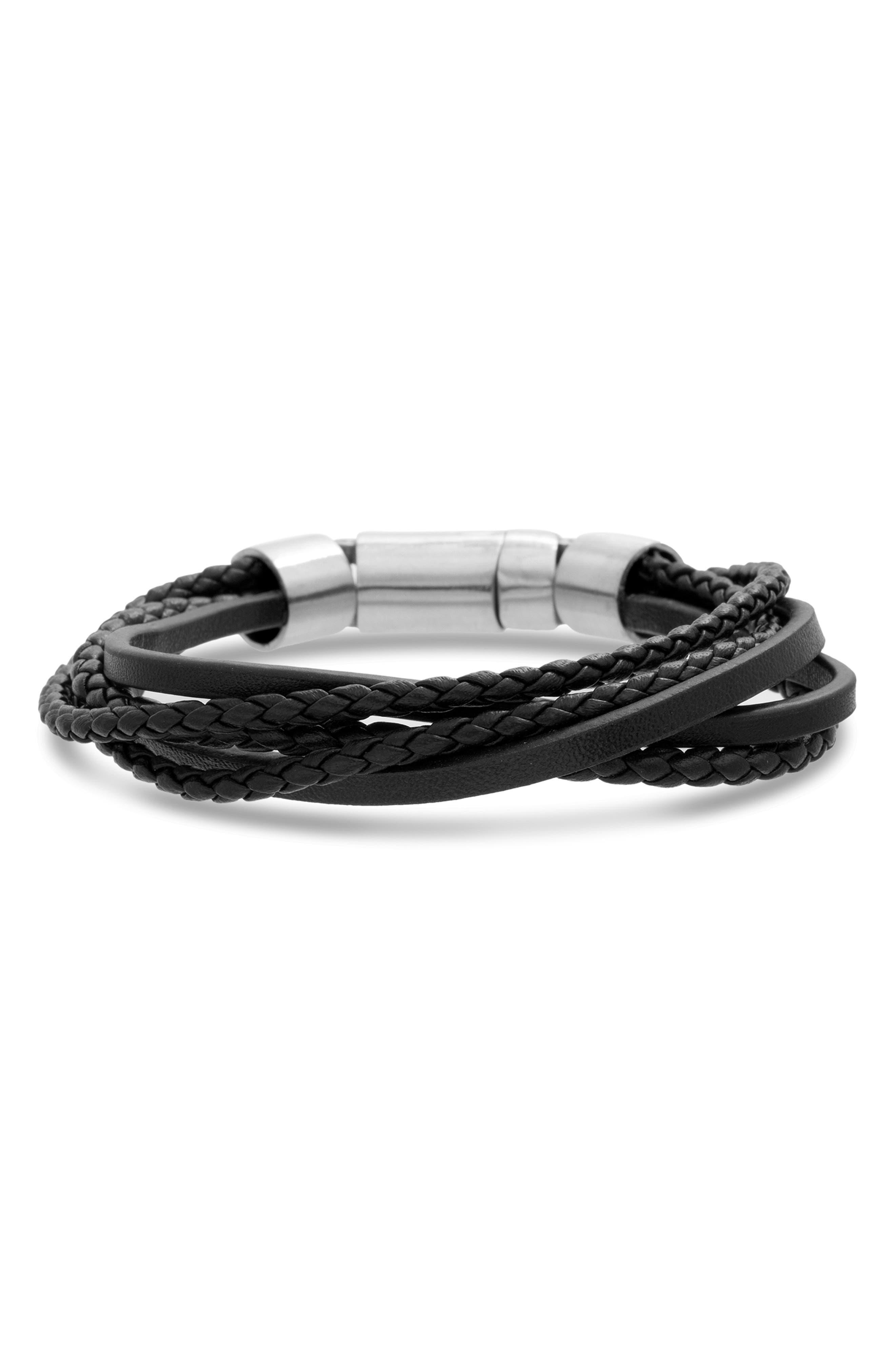 BEN SHERMAN Steel & Leather Bracelet in Black