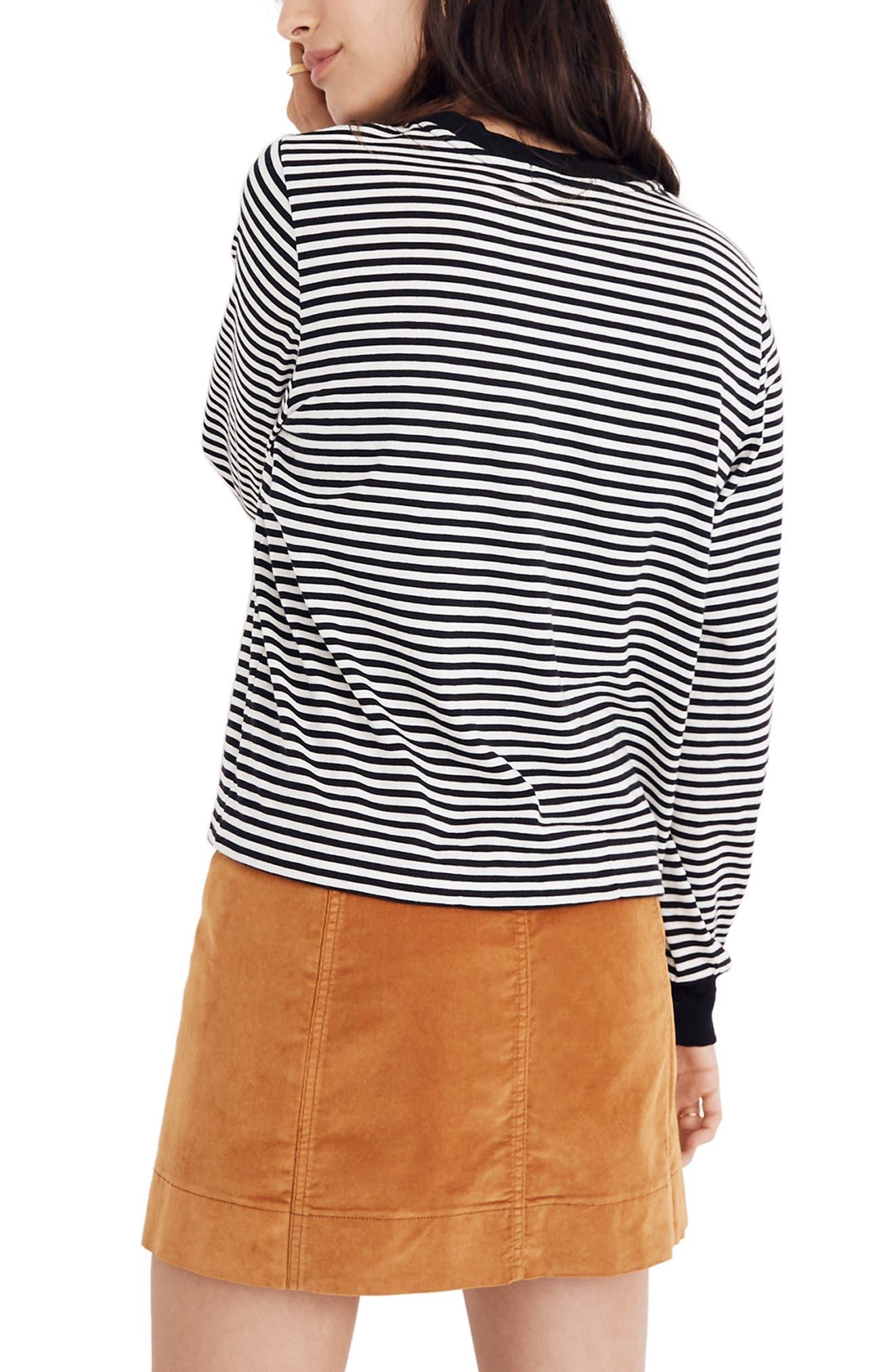 Stripe Long Sleeve Tee,                             Alternate thumbnail 2, color,                             TRUE BLACK