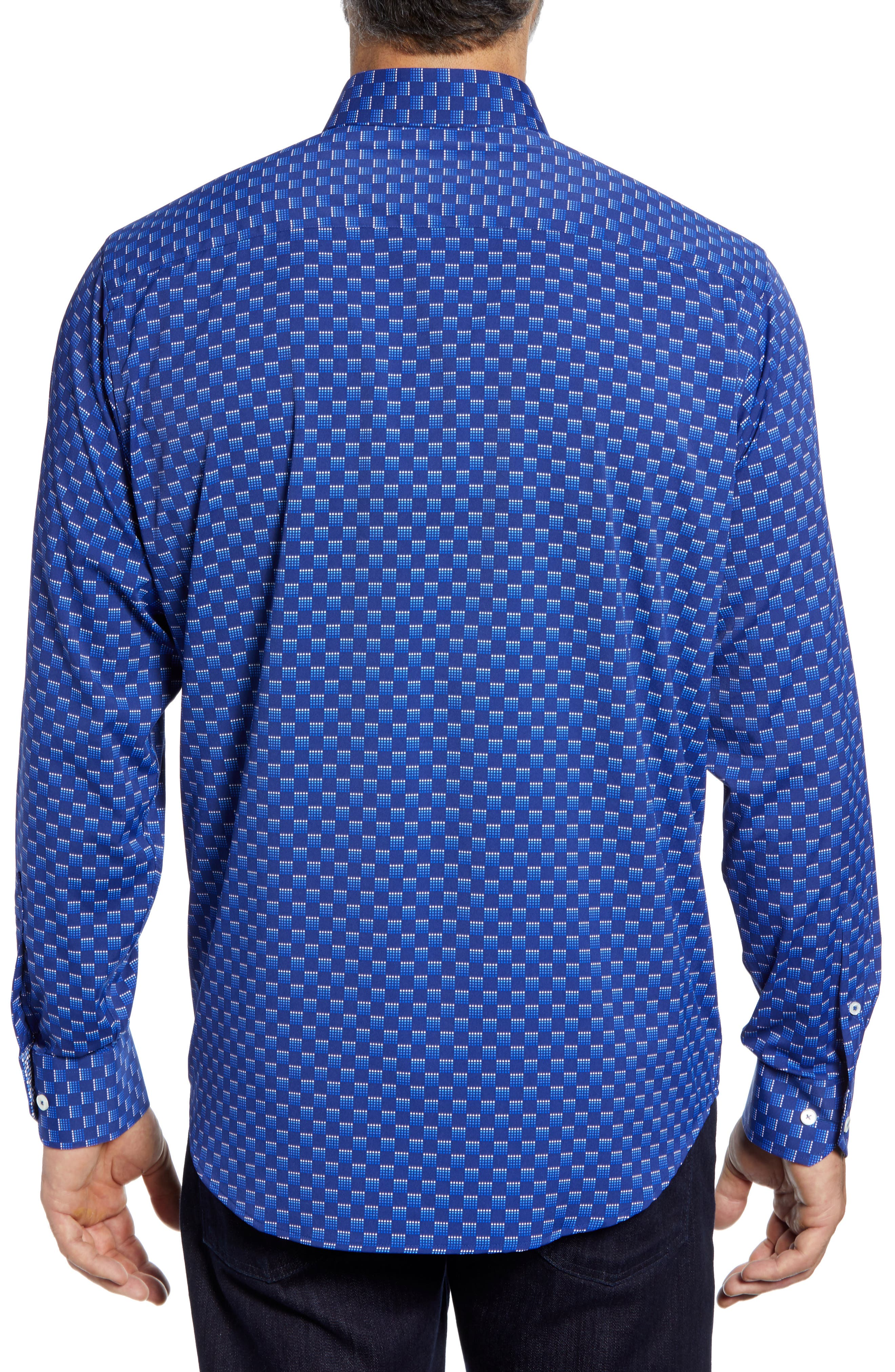 Classic Fit Print Performance Sport Shirt,                             Alternate thumbnail 3, color,                             NIGHT BLUE