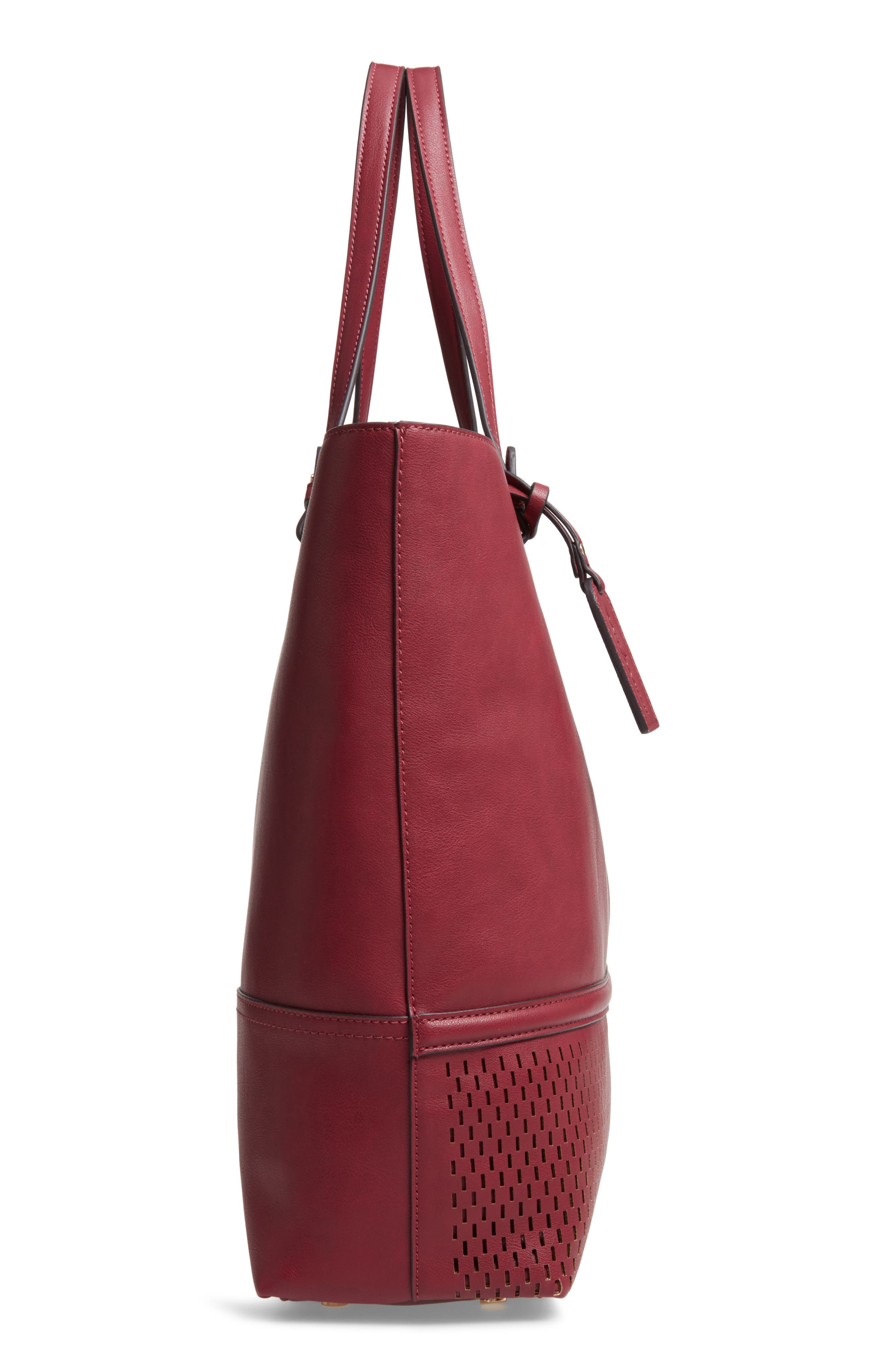 Oversize Faux Leather Tote,                             Alternate thumbnail 5, color,                             BERRY