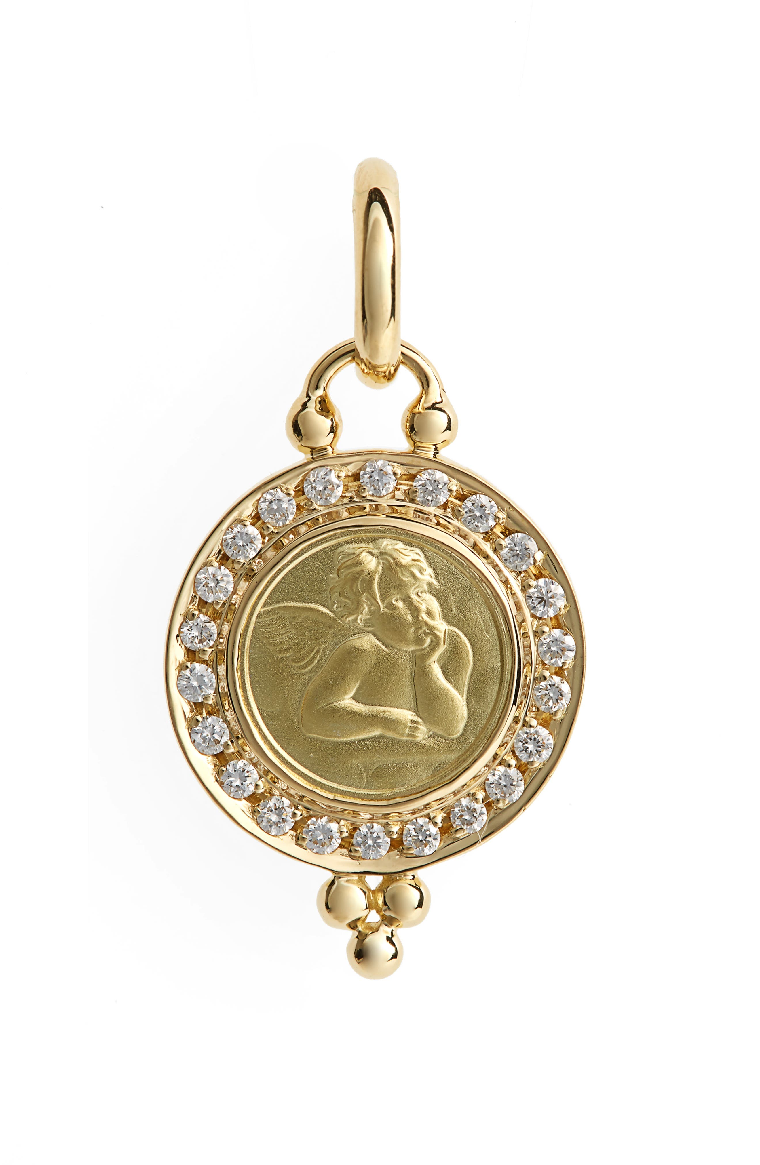 Temple St. Clair Angel Pavé Diamond Pendant,                         Main,                         color, YELLOW GOLD