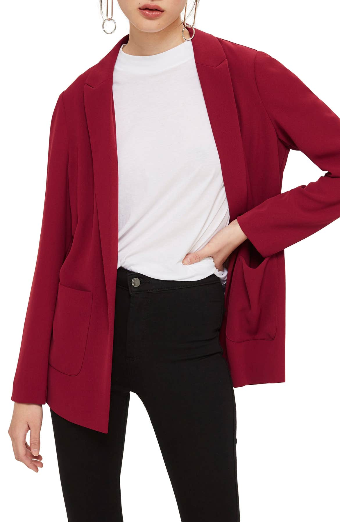 TOPSHOP Chuck On Blazer, Main, color, RED