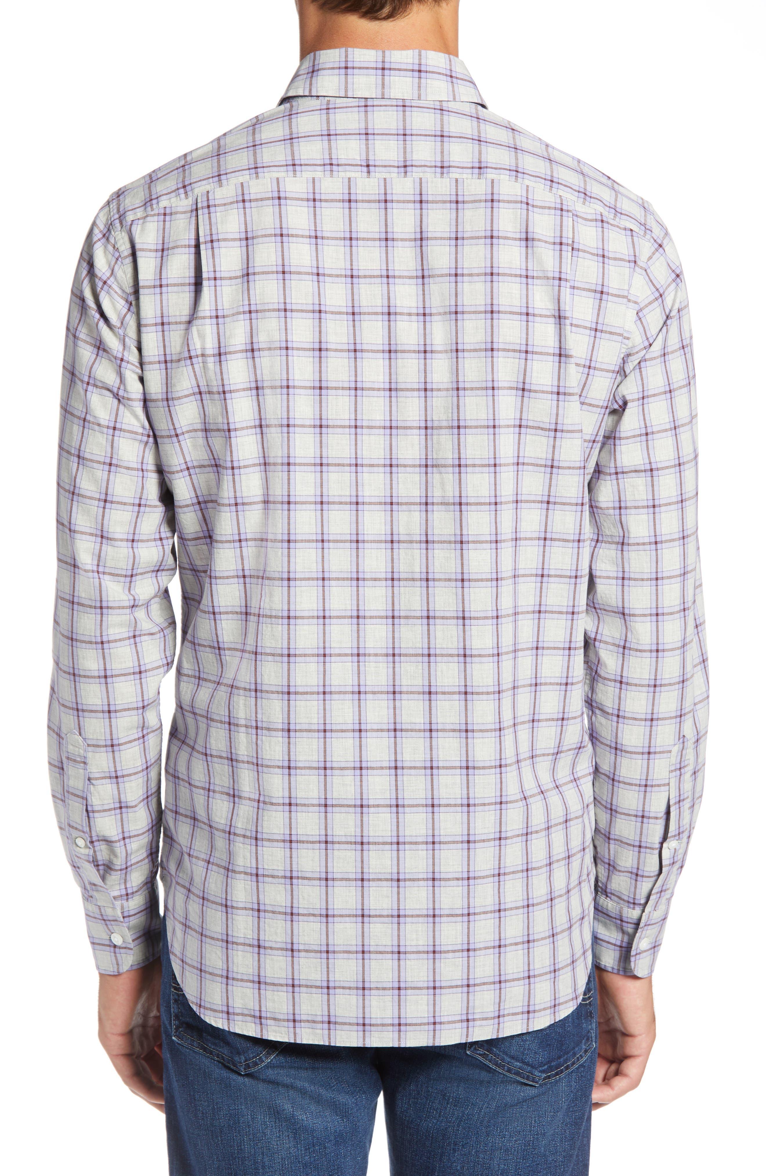 Slim Fit Washed Check Sport Shirt,                             Alternate thumbnail 3, color,                             STONEGATE CHECK - AZULENE
