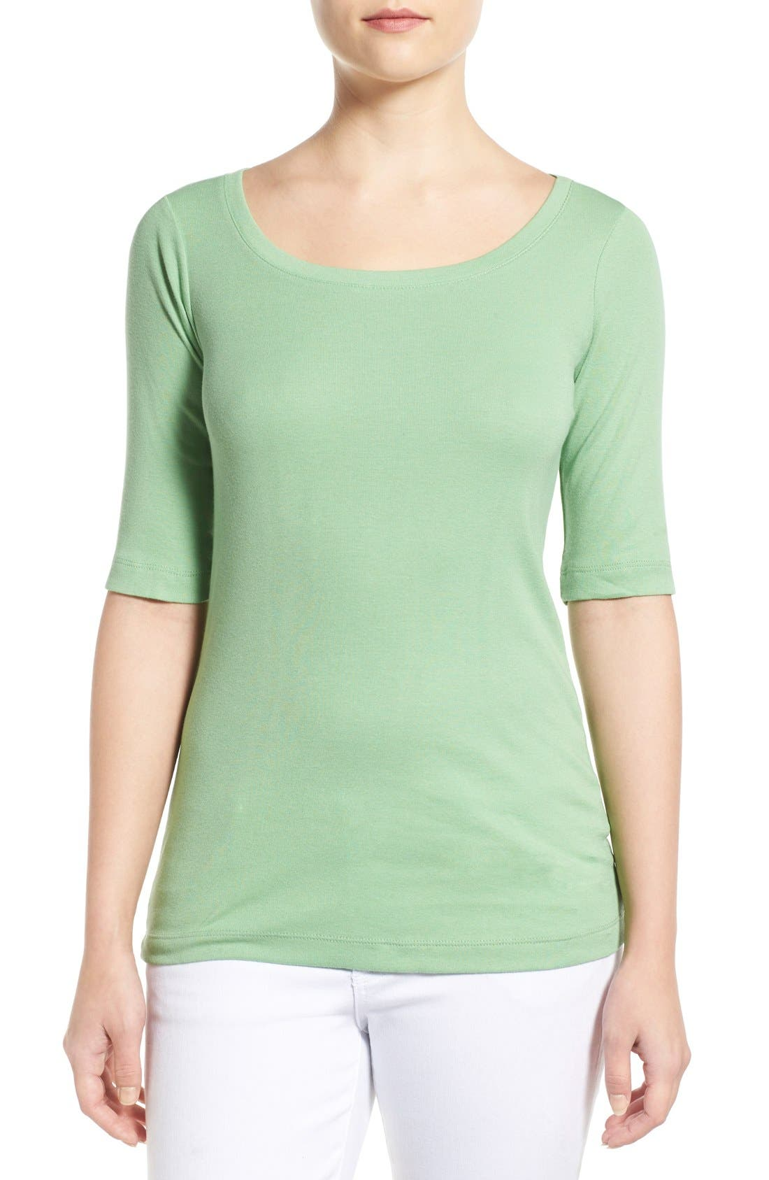 Ballet Neck Cotton & Modal Knit Elbow Sleeve Tee,                             Main thumbnail 18, color,