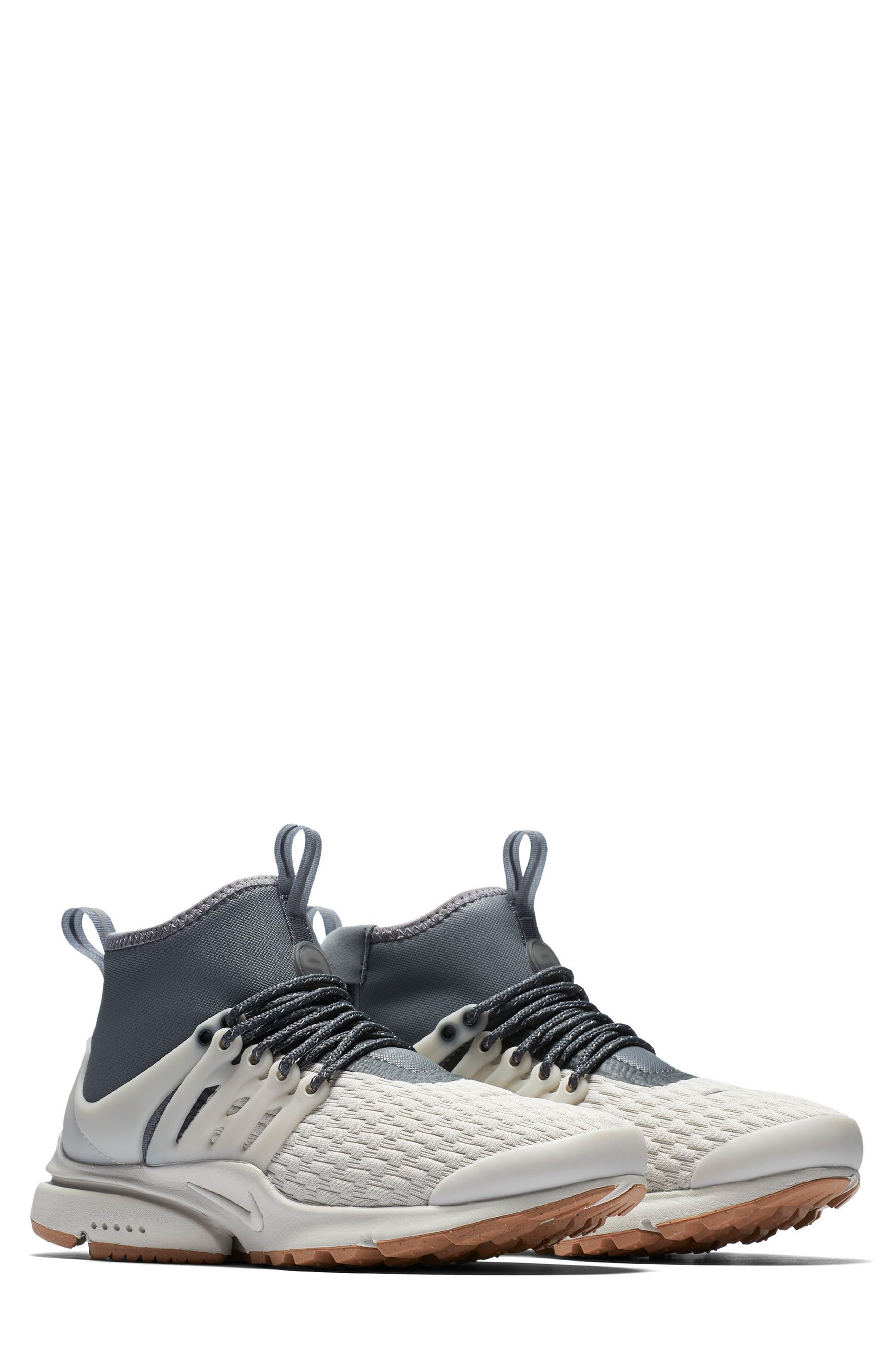 Air Presto Mid Utility Water Repellent Sneaker,                         Main,                         color, LIGHT BONE/ COOL GREY