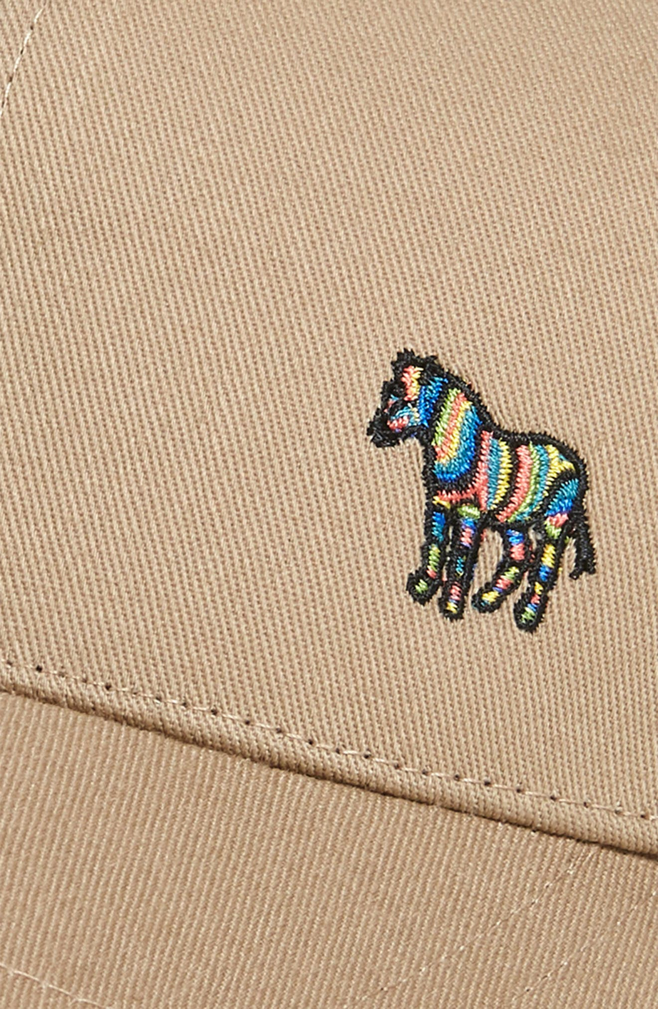 PAUL SMITH,                             Zebra Embroidered Baseball Cap,                             Alternate thumbnail 3, color,                             TAN