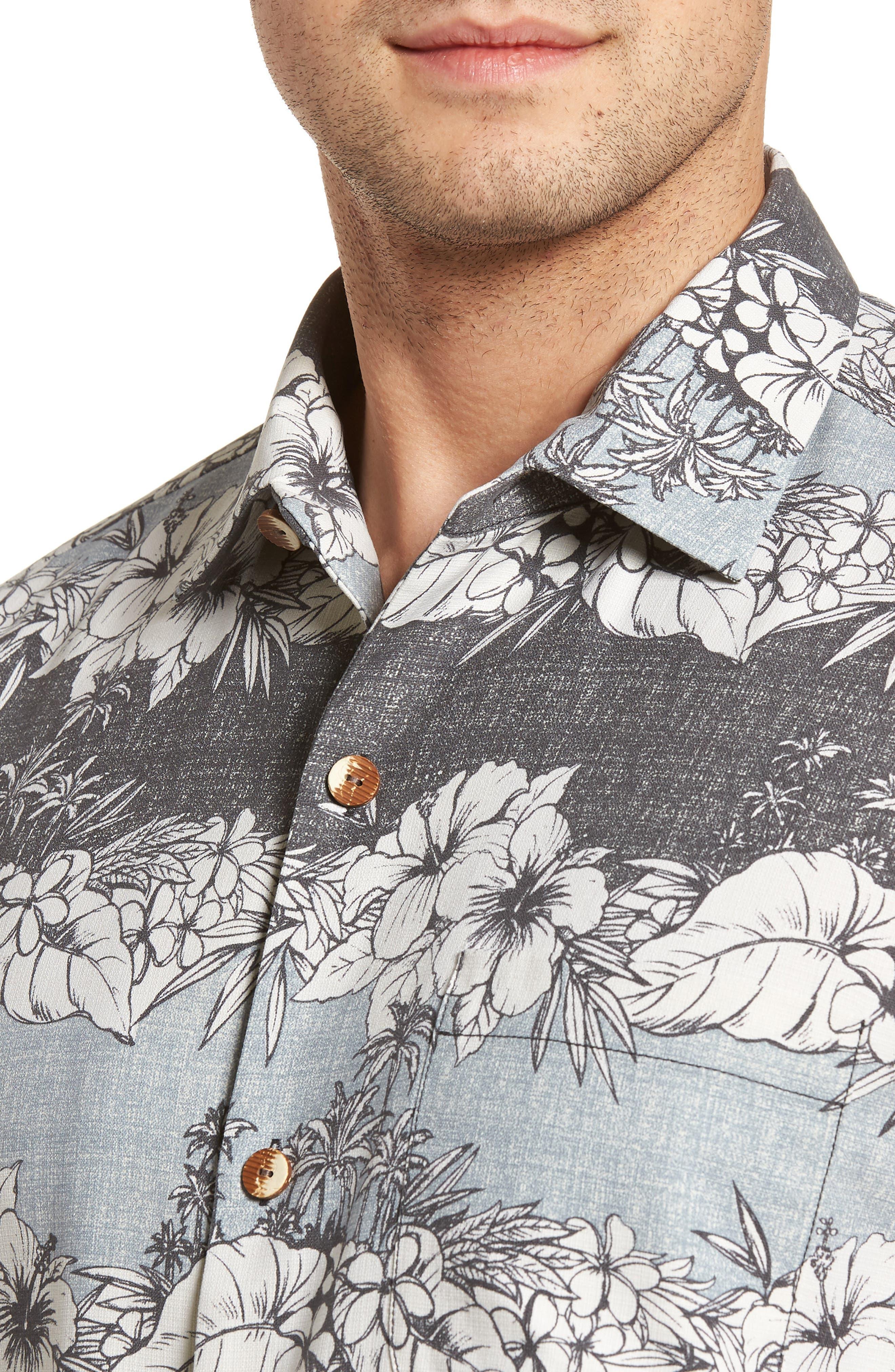 Sky Vines Silk Blend Camp Shirt,                             Alternate thumbnail 4, color,                             050