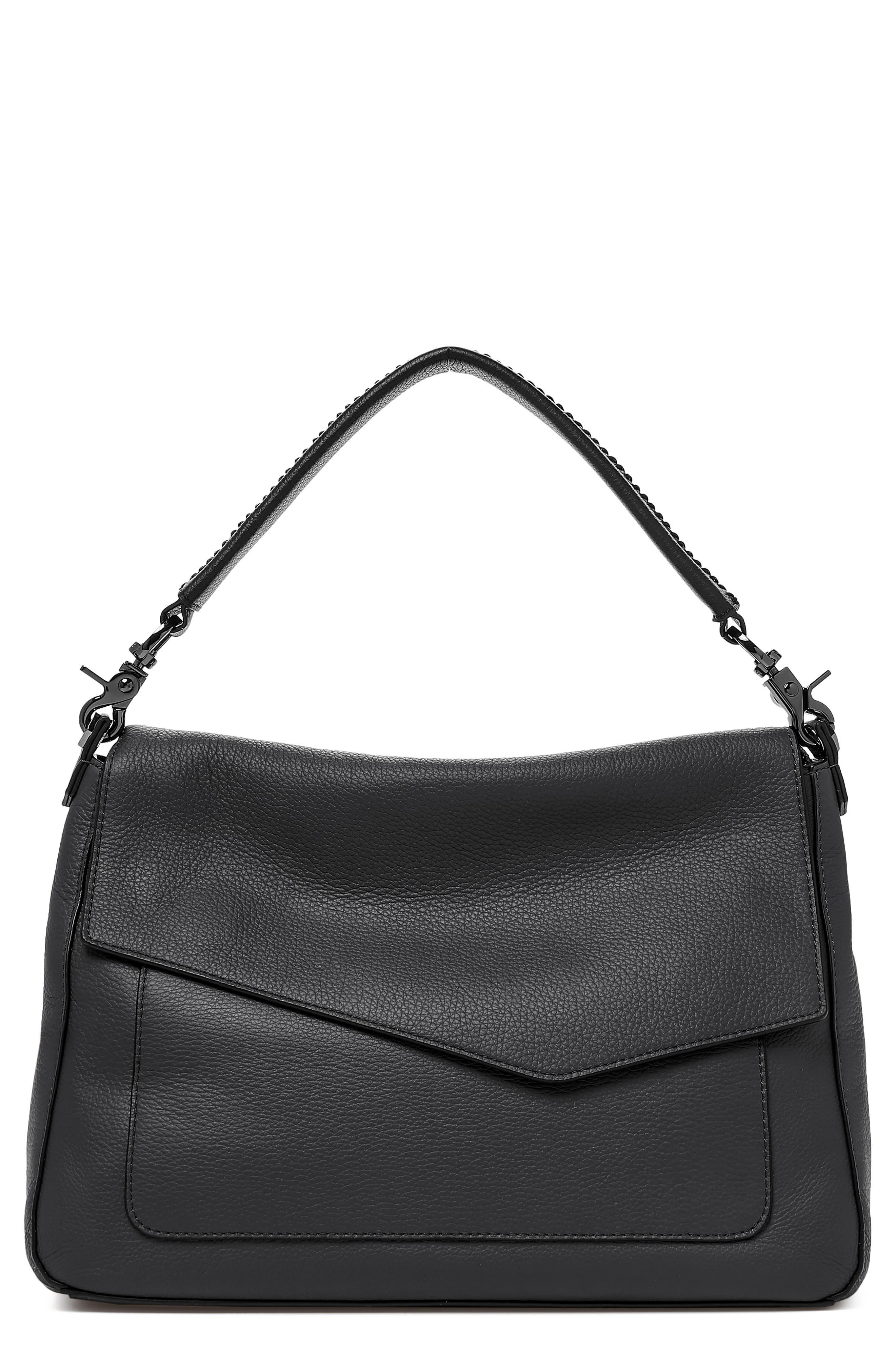 Cobble Hill Slouch Calfskin Leather Hobo,                             Main thumbnail 1, color,                             BLACK