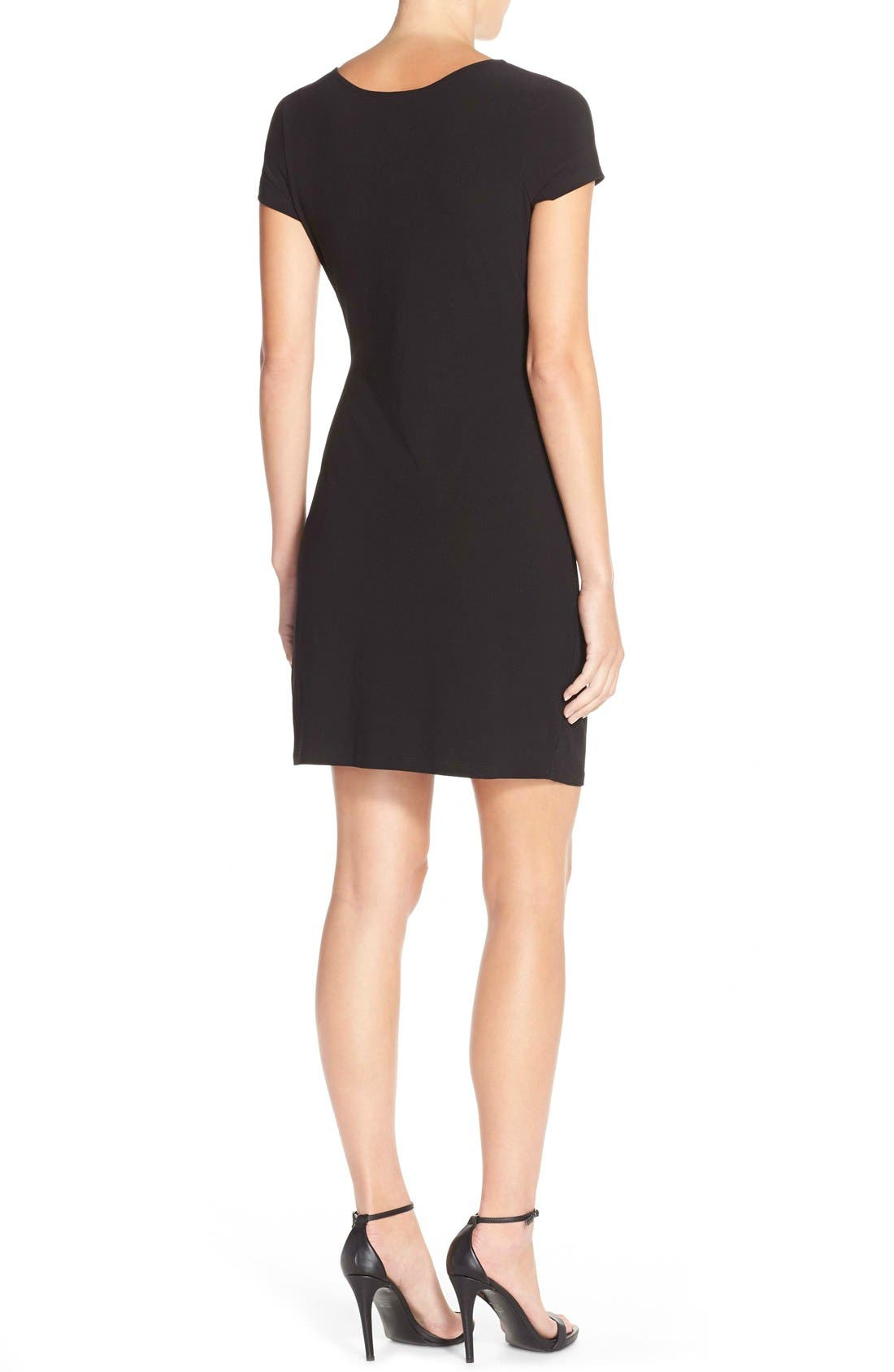 Side Tie Jersey Sheath Dress,                             Alternate thumbnail 3, color,                             BLACK