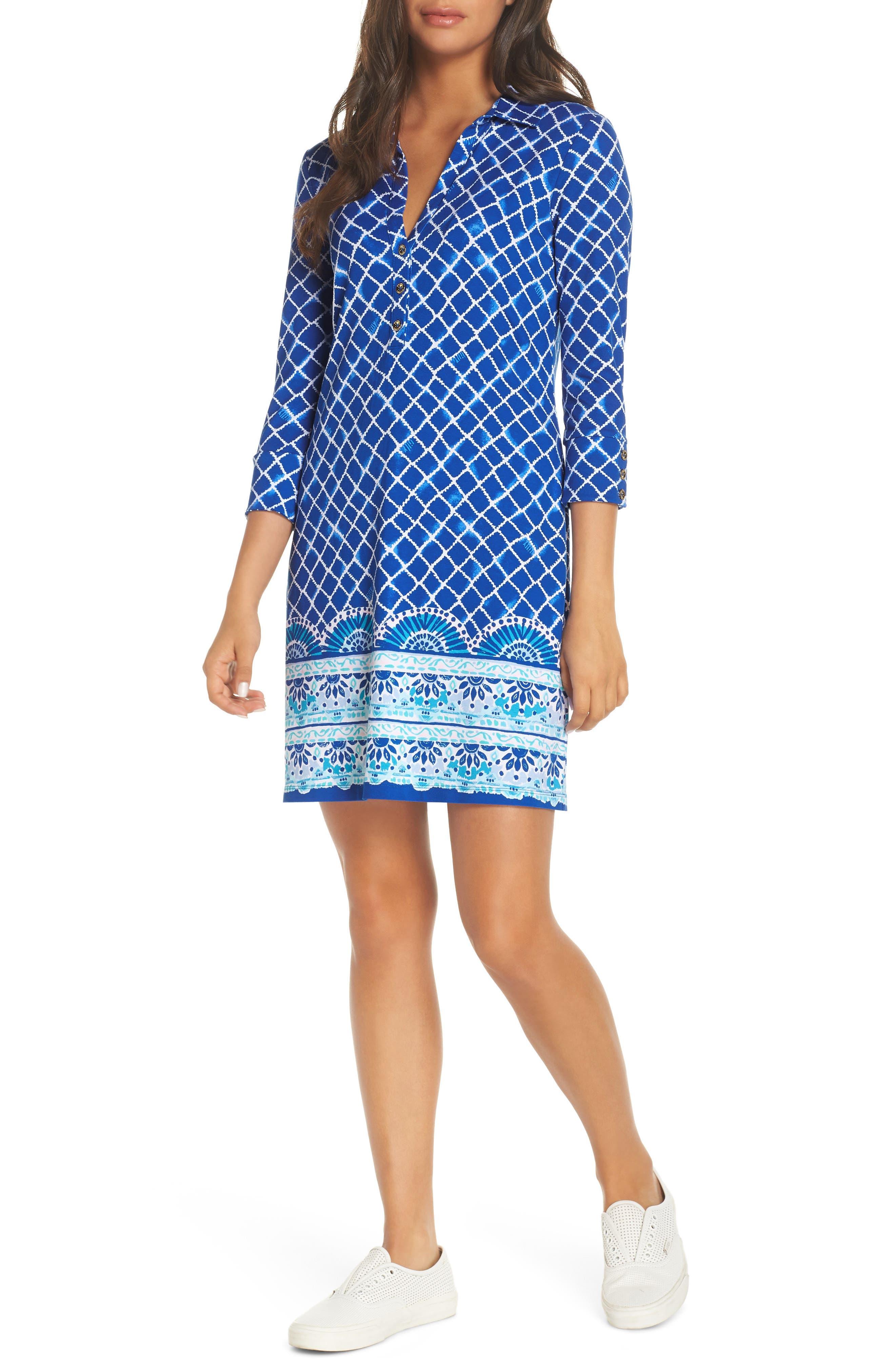 Lilly Pulitzer Ansley Upf 50+ Polo Shift Dress, Blue