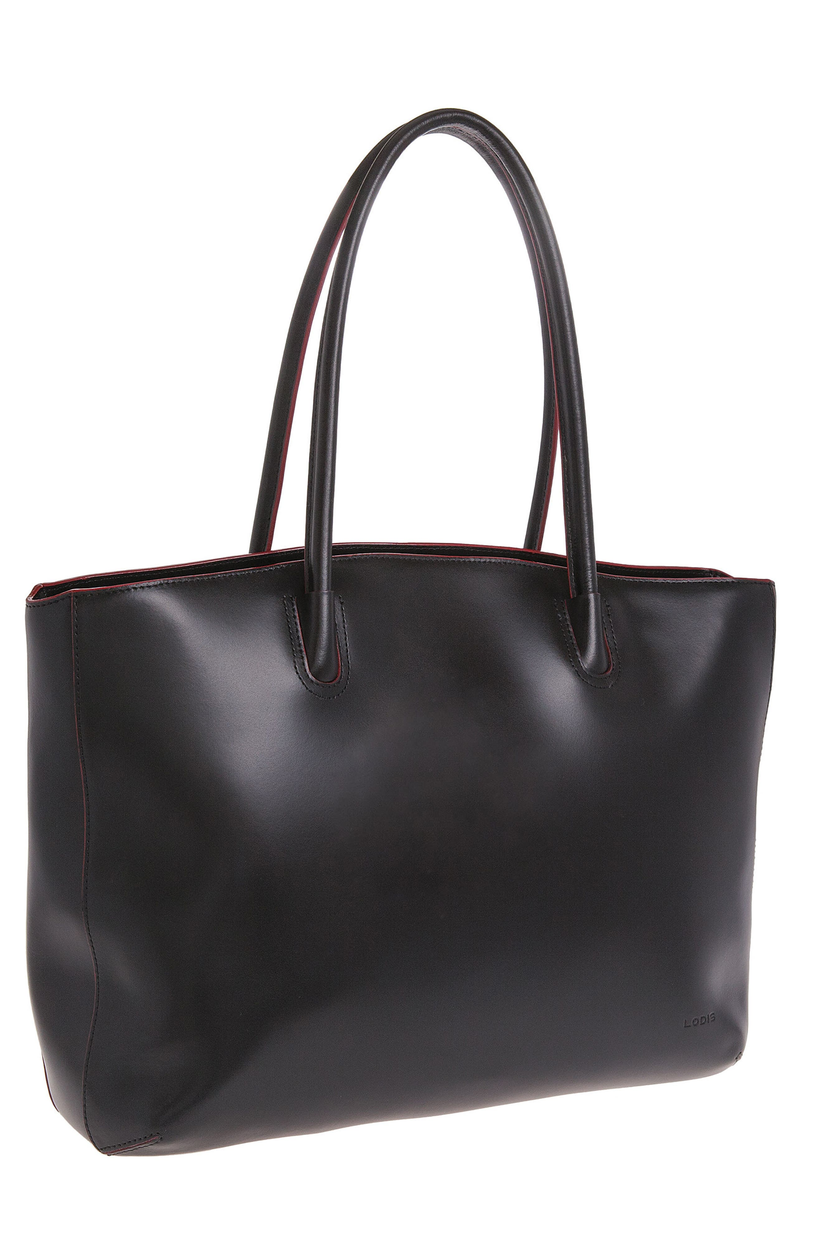 Audrey Under Lock & Key - Milano RFID Leather Tote,                             Alternate thumbnail 4, color,                             BLACK