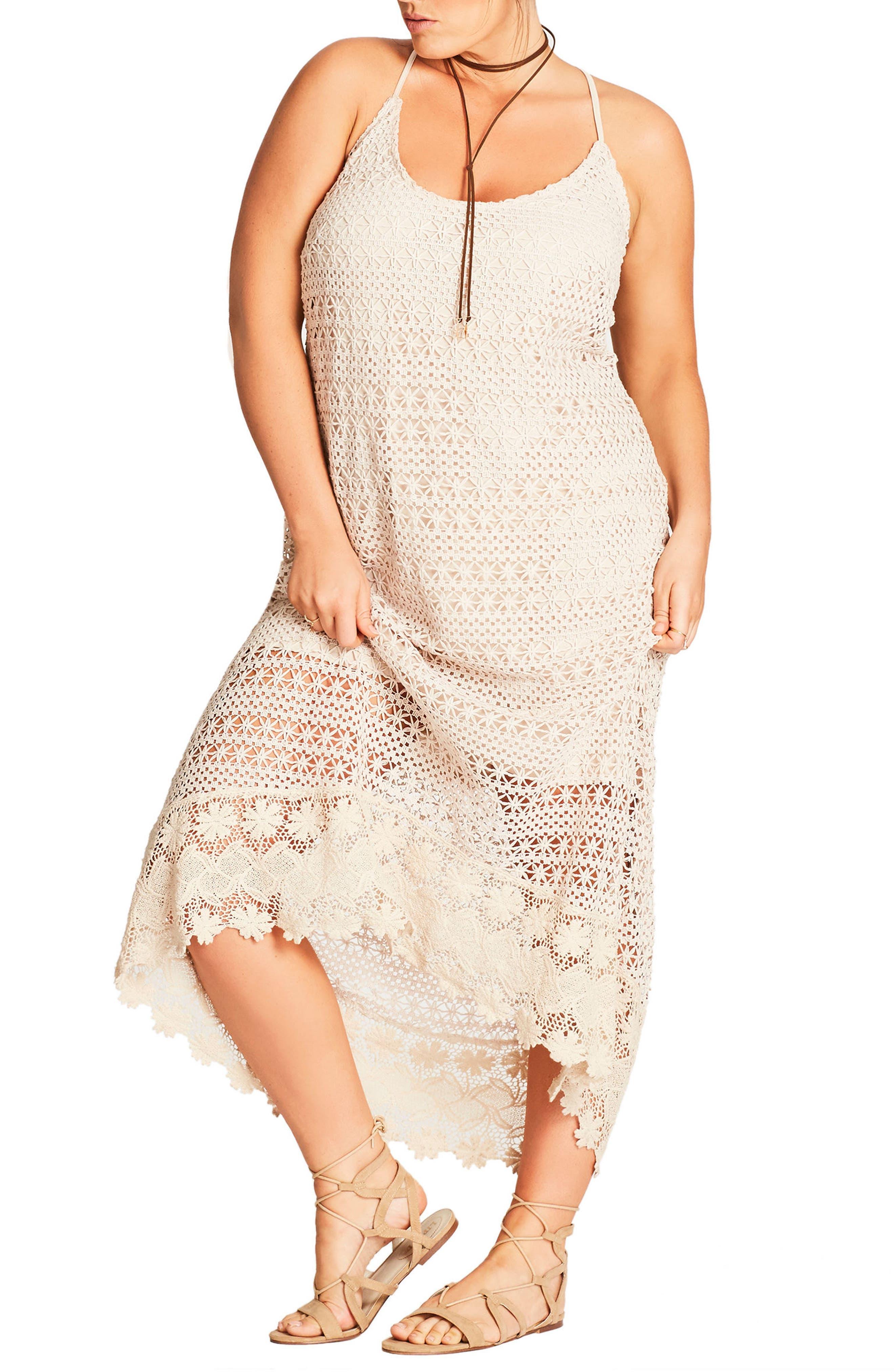 Crochet Maxi Dress,                             Alternate thumbnail 7, color,