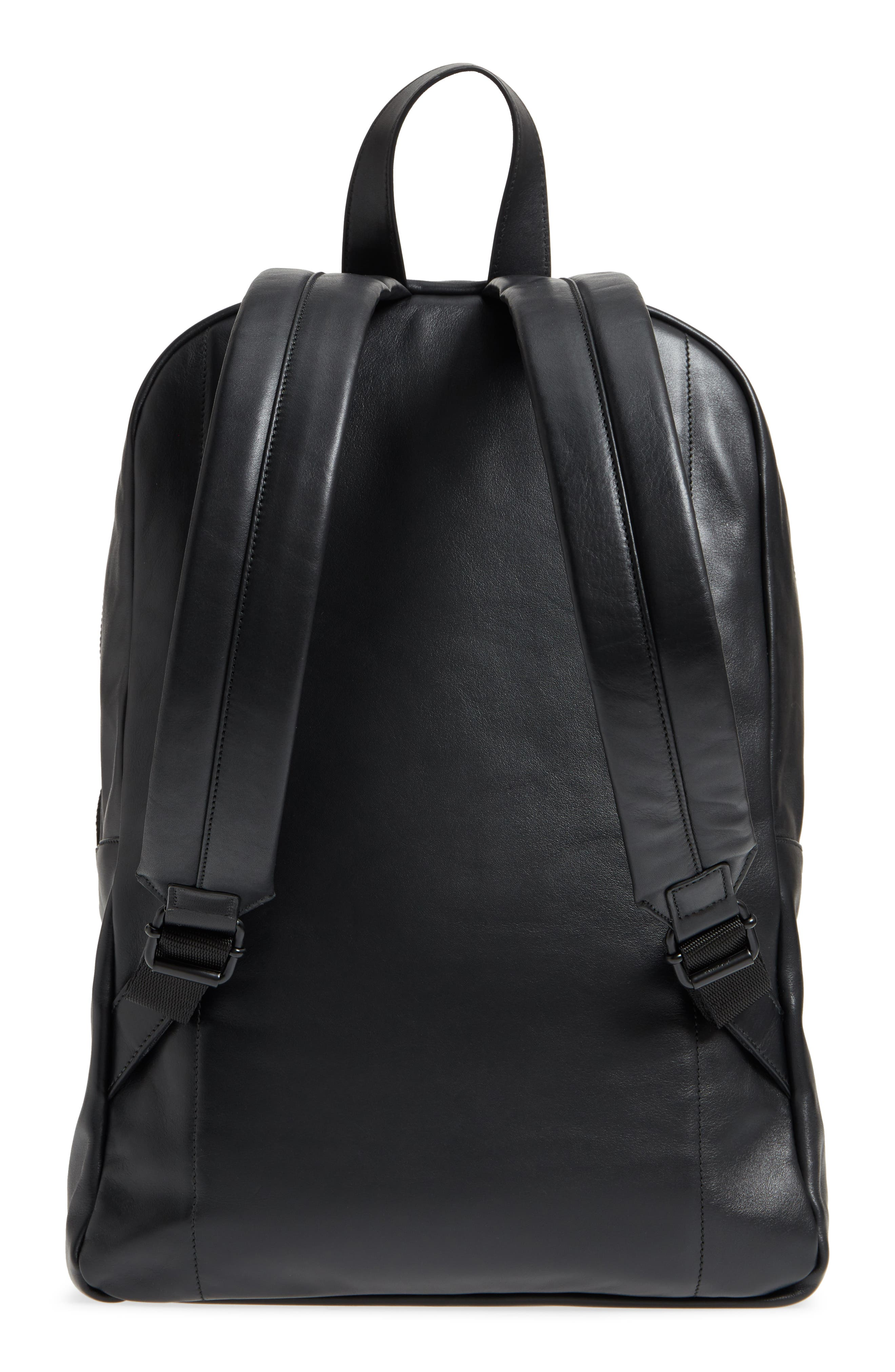 Soft Leather Backpack,                             Alternate thumbnail 3, color,                             BLACK