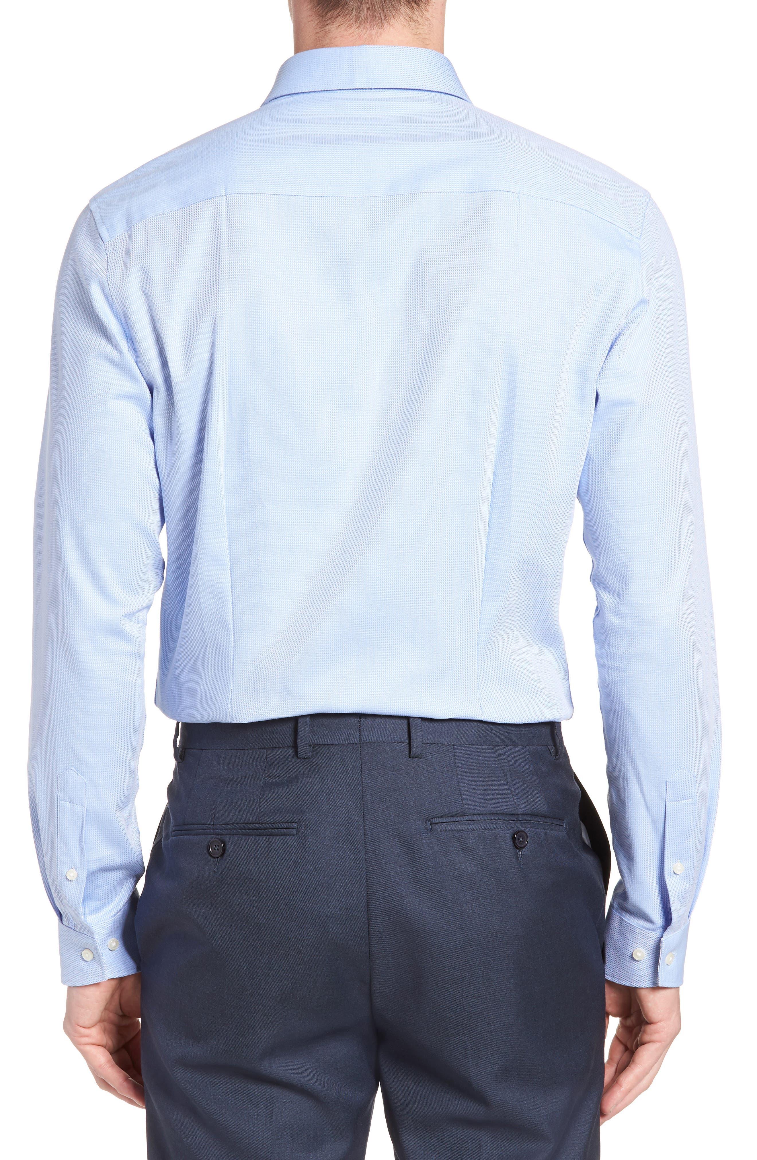 Trim Fit Stretch Performance Dress Shirt,                             Alternate thumbnail 3, color,                             BLUE