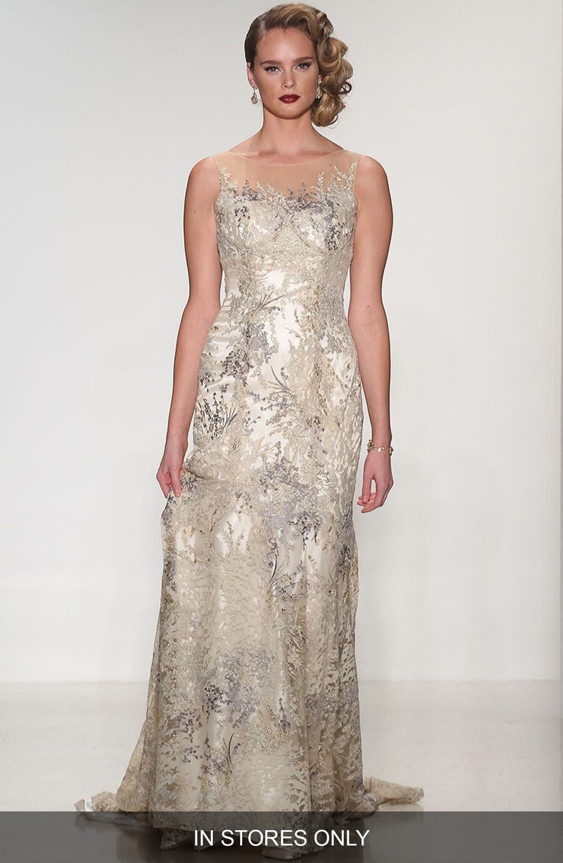 Thyme Sleeveless Illusion Embroidered Lace Gown,                         Main,                         color, 901