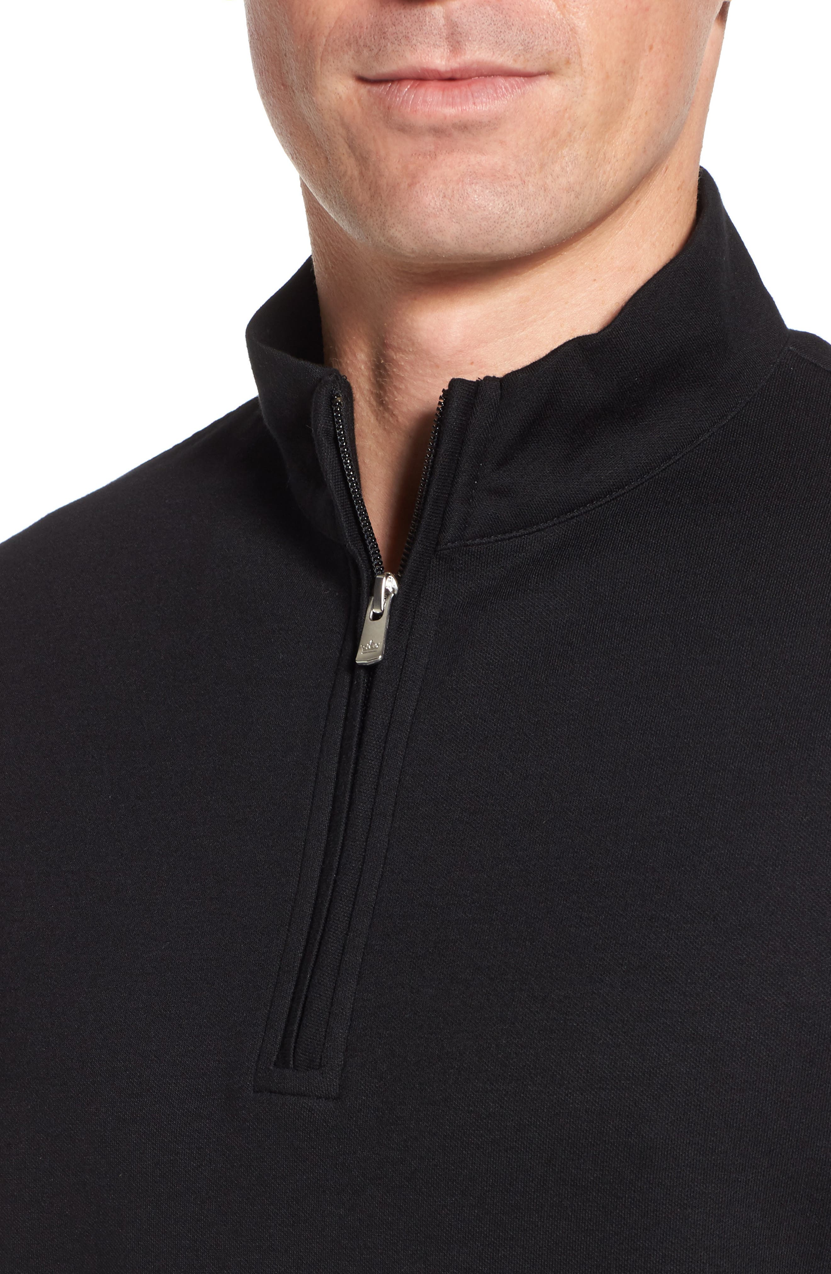 Crown Comfort Jersey Quarter Zip Pullover,                             Alternate thumbnail 4, color,                             001