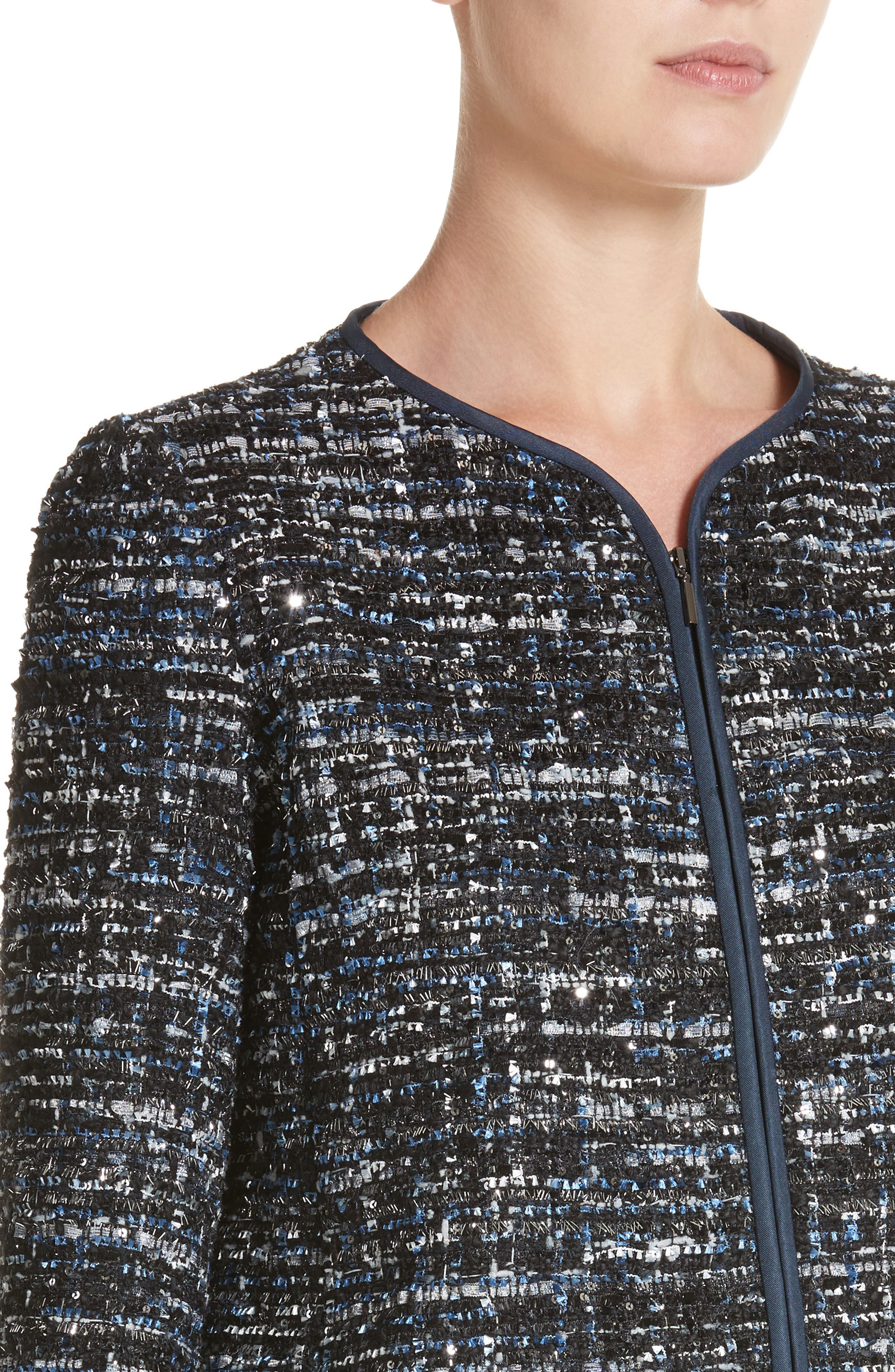 Sequin Tweed Jacket,                             Alternate thumbnail 4, color,                             001
