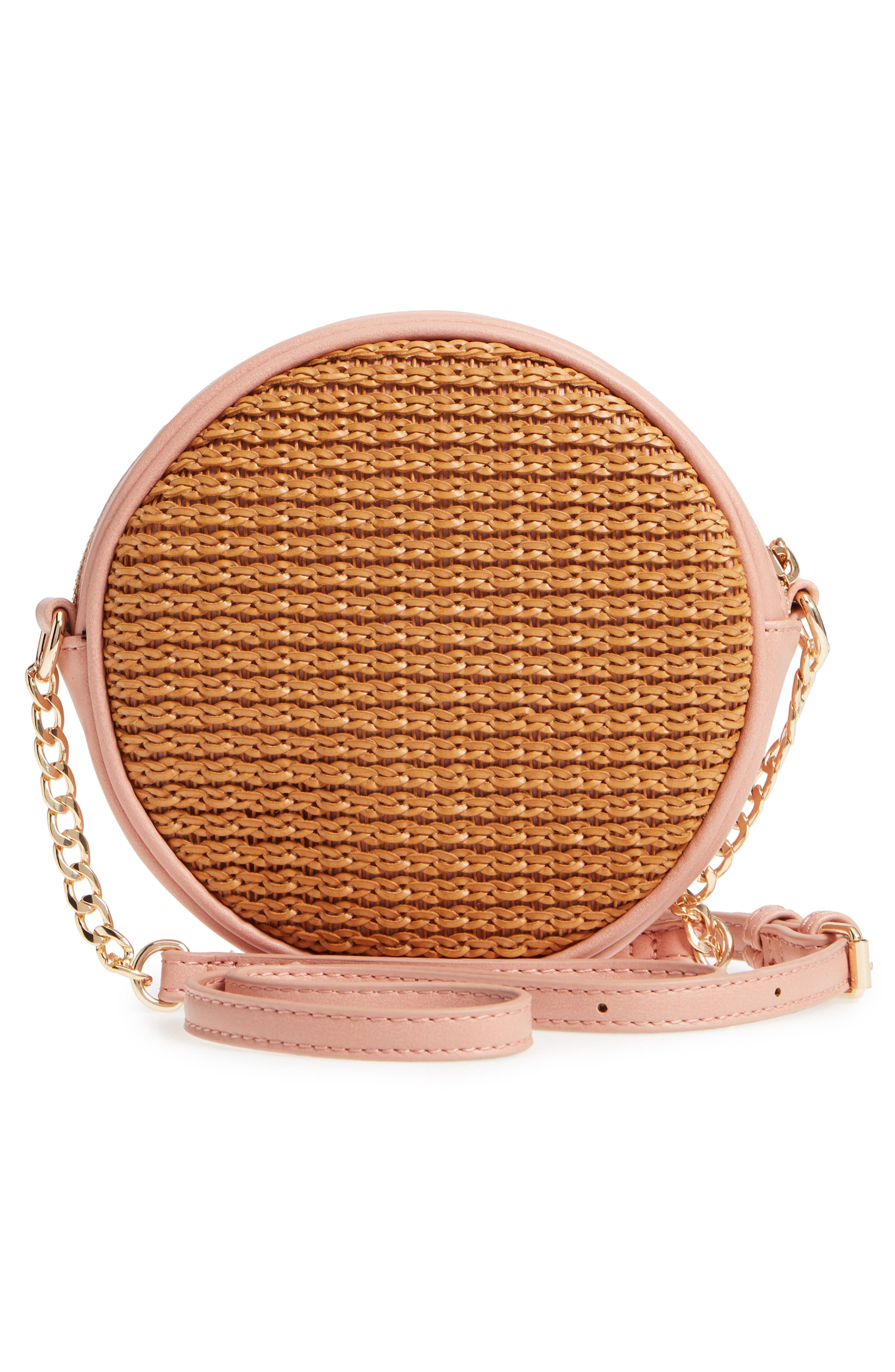 Mali + Lili Basket Weave Vegan Leather Canteen Crossbody Bag,                             Alternate thumbnail 3, color,                             200