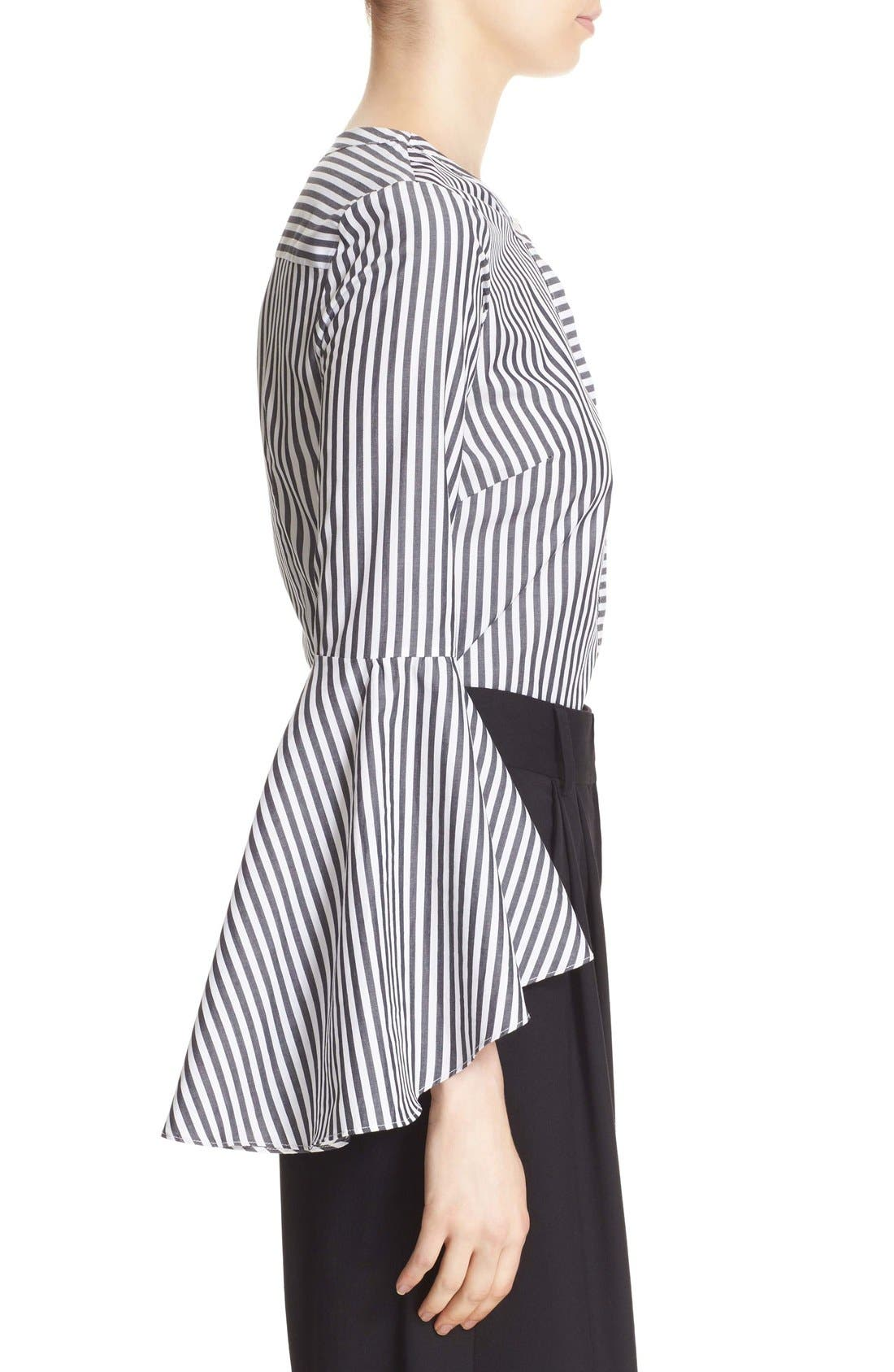 'Ruthie' Stripe Cotton Bell Sleeve Blouse,                             Alternate thumbnail 5, color,                             001