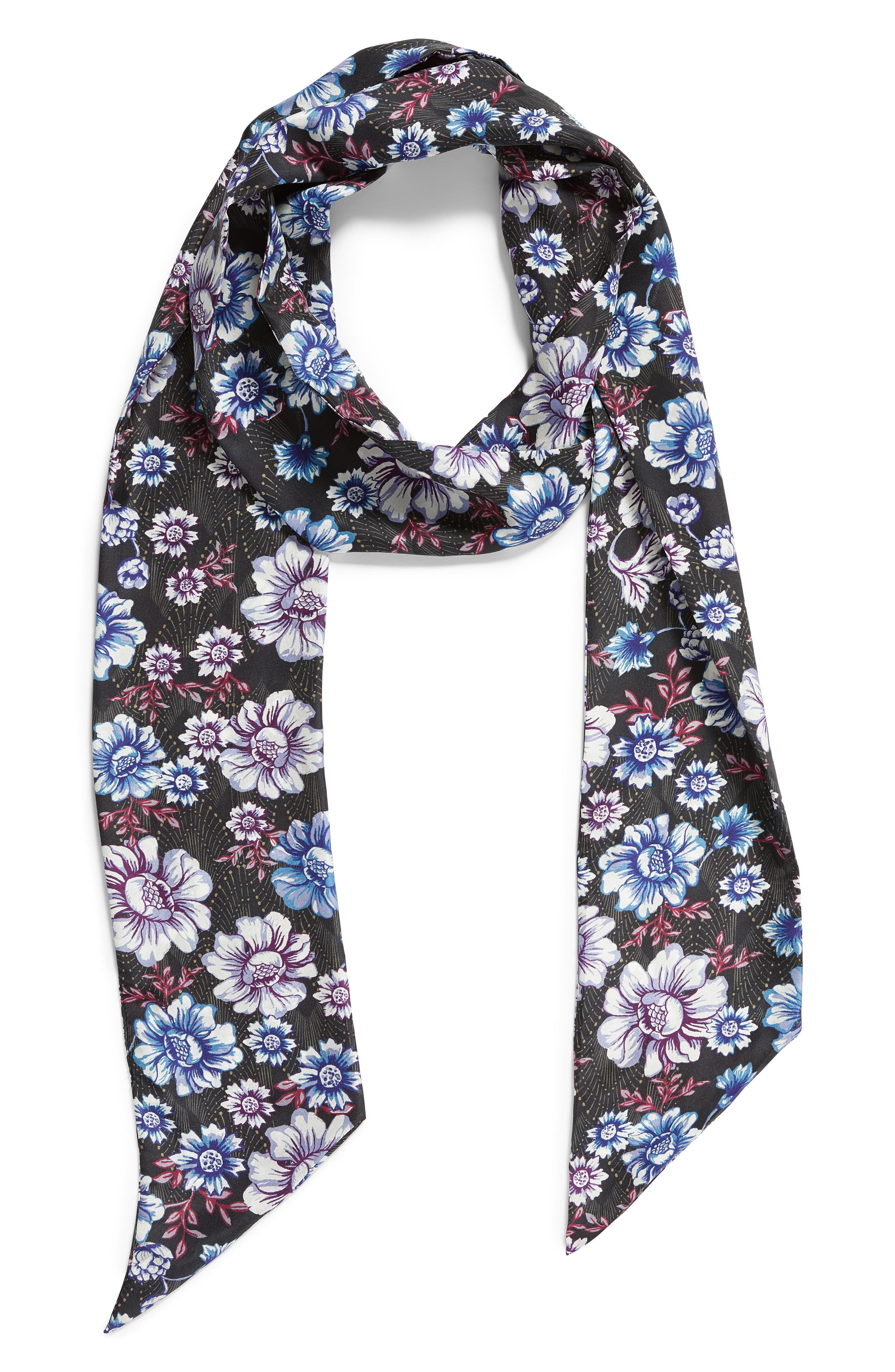Mirrored Floral Silk Skinny Scarf,                             Alternate thumbnail 3, color,