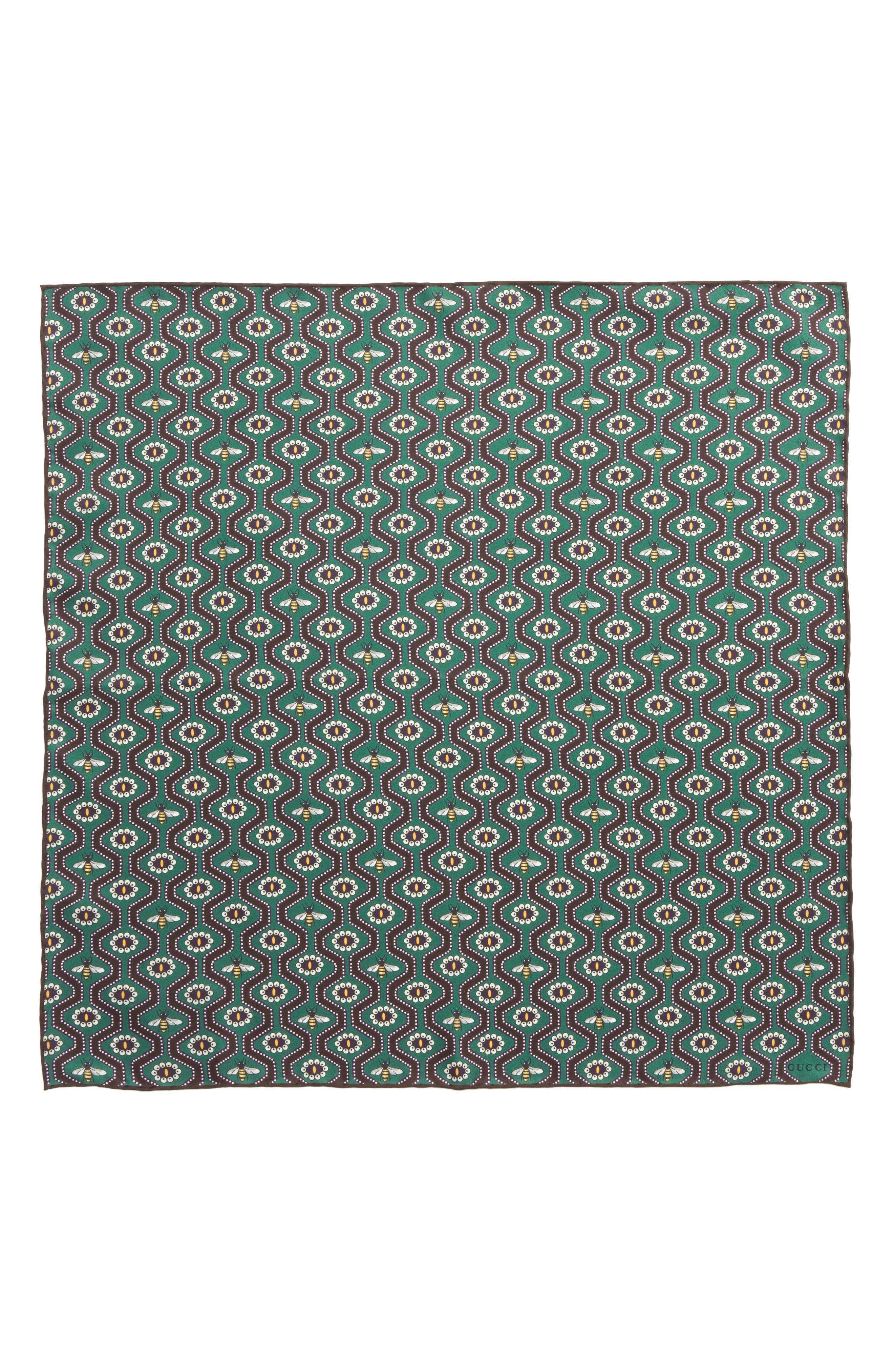 GUCCI,                             Pearl Bee Pocket Square,                             Alternate thumbnail 2, color,                             353