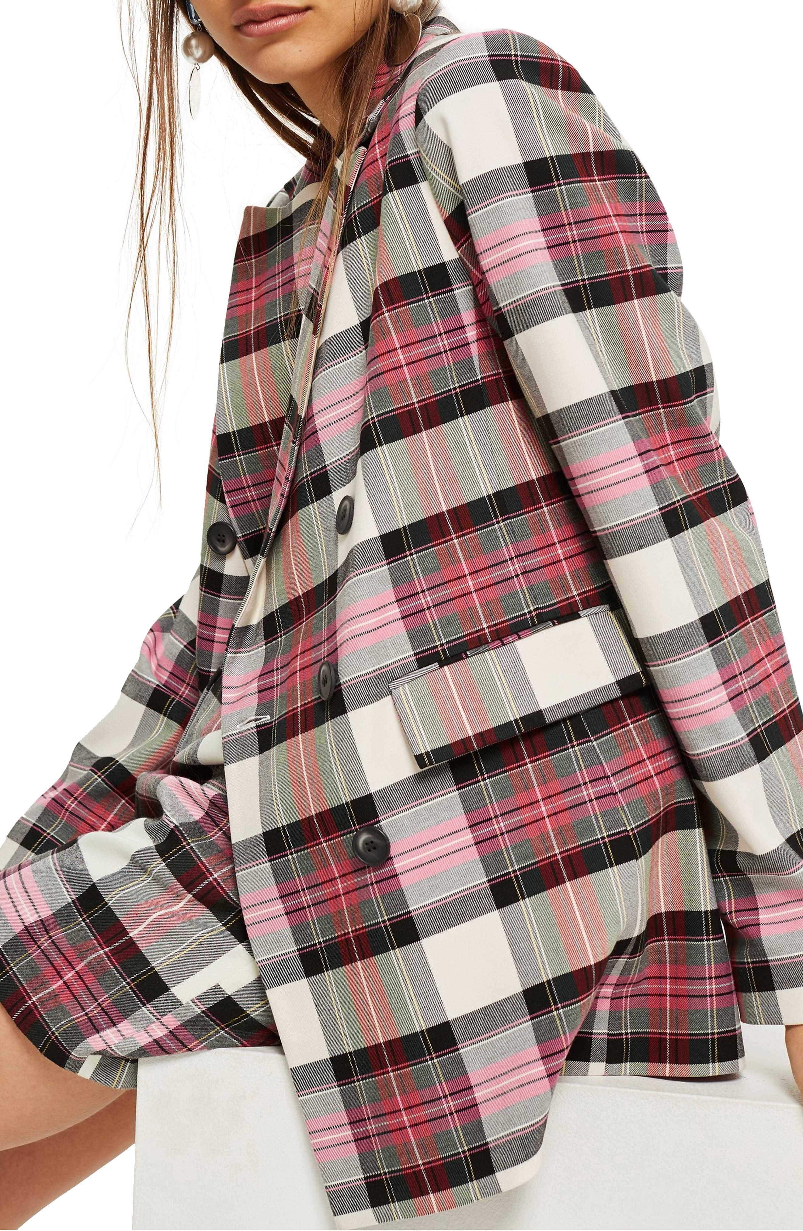Tartan Double Breasted Jacket,                             Alternate thumbnail 3, color,                             PINK MULTI