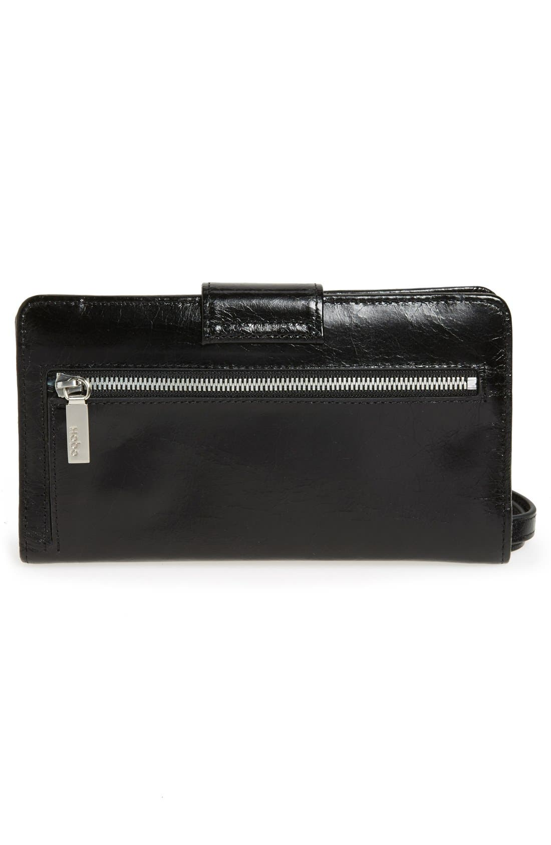 Danette Glazed Continental Wallet,                             Alternate thumbnail 5, color,                             BLACK
