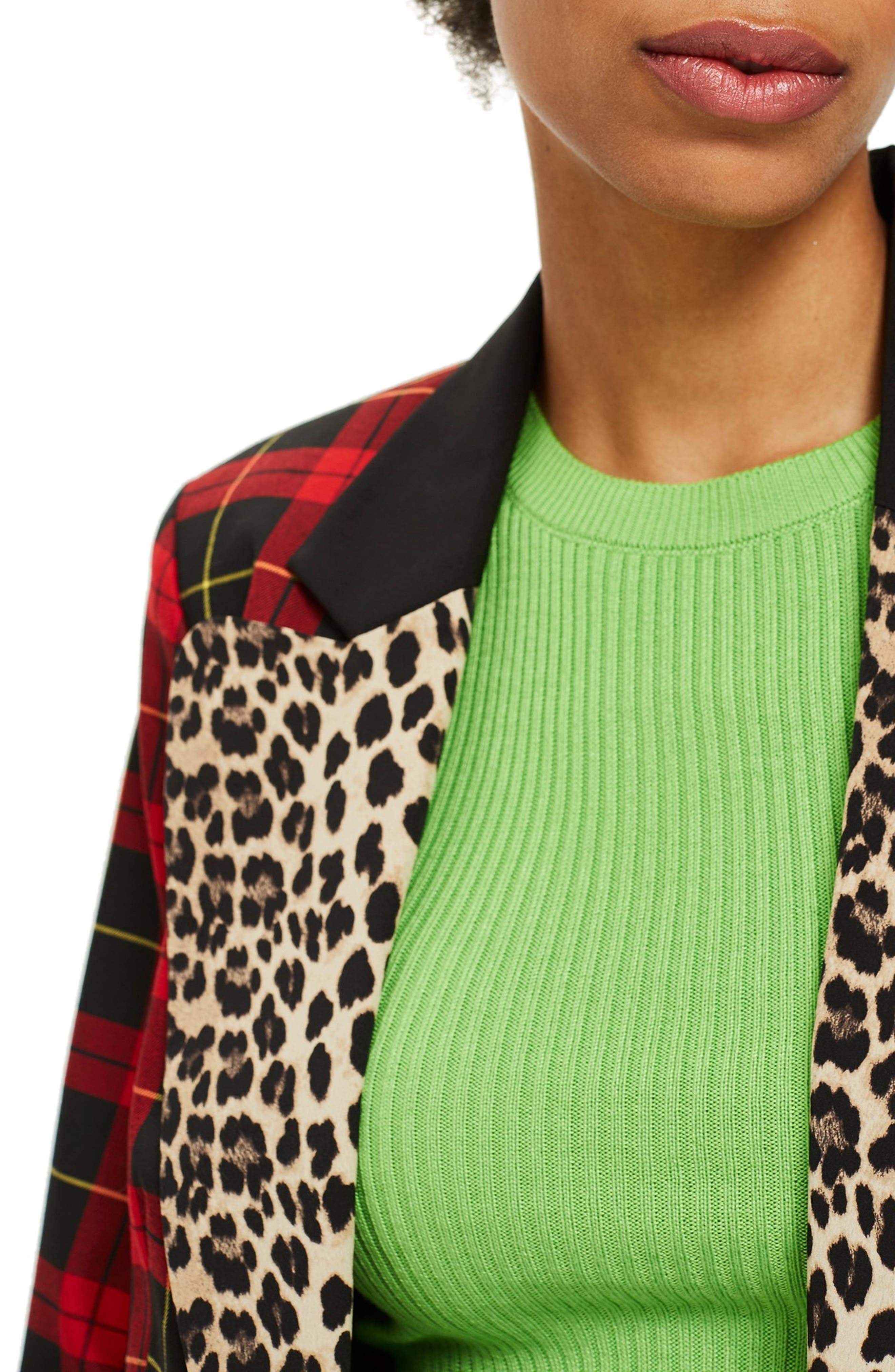 Leopard Trim Tartan Blazer,                             Alternate thumbnail 4, color,                             RED MULTI