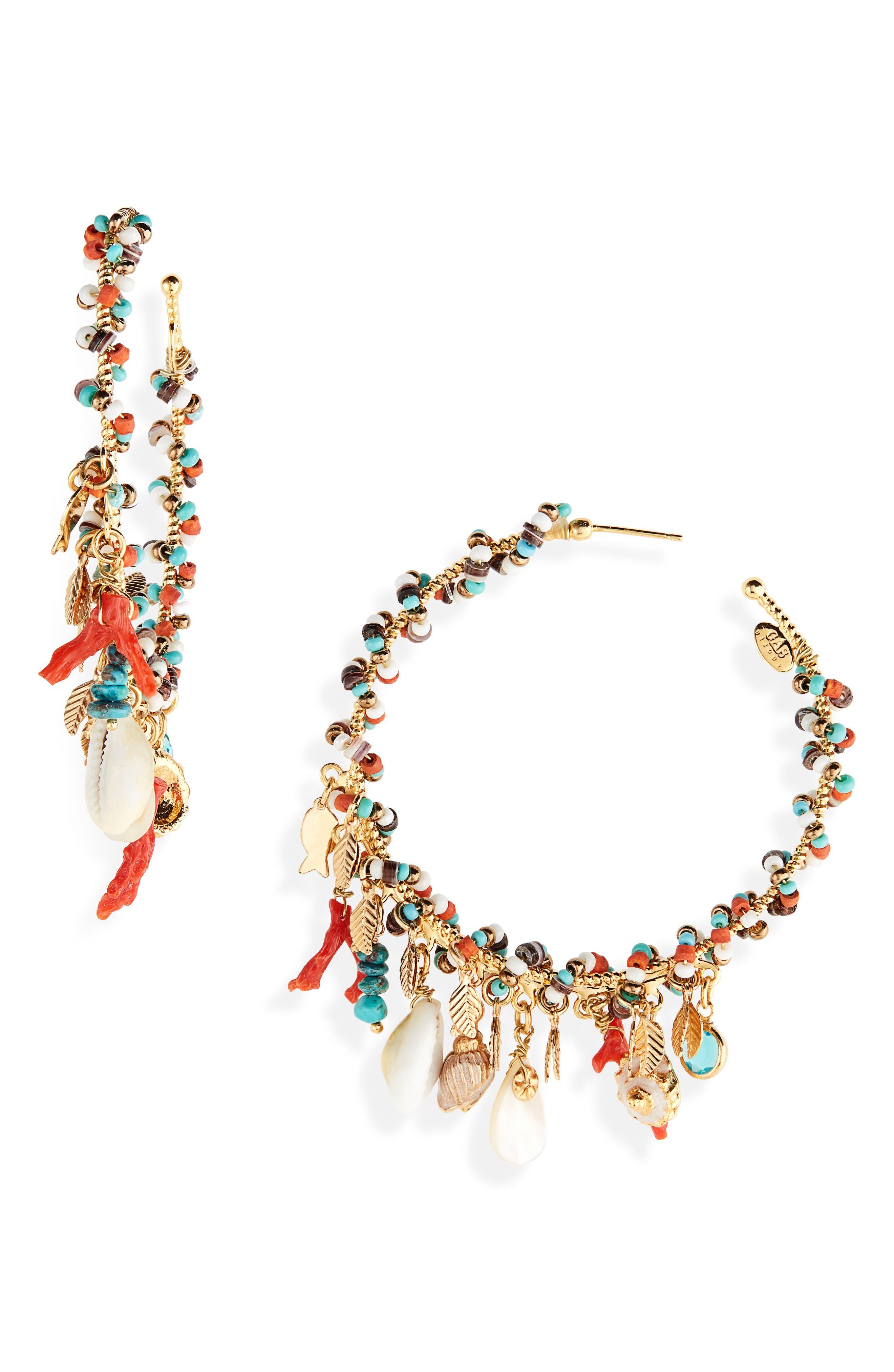 Pondichery Hoop Earrings, Main, color, GOLD MULTI
