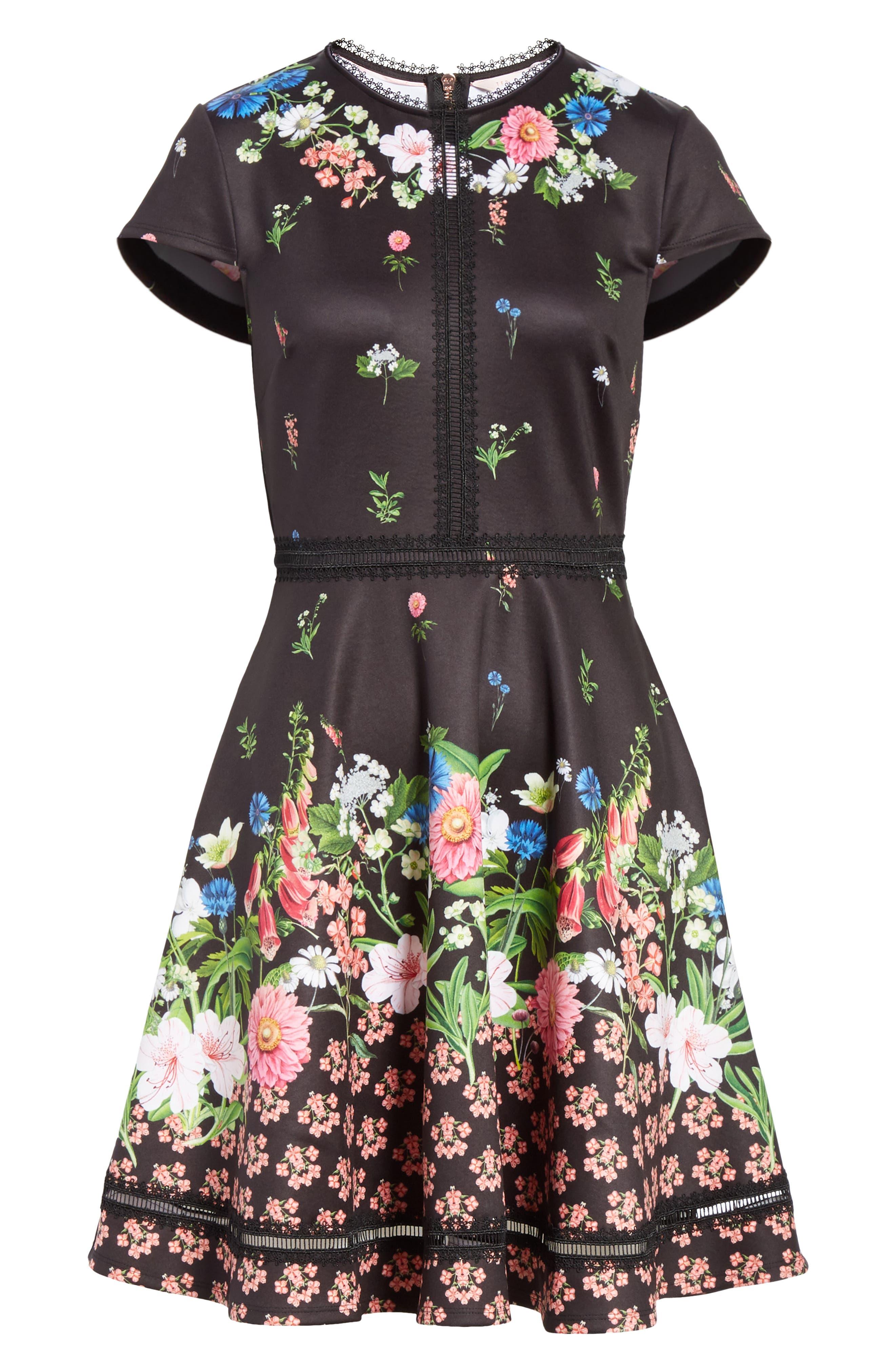 Daissie Florence Trim Skater Dress,                             Alternate thumbnail 6, color,                             BLACK