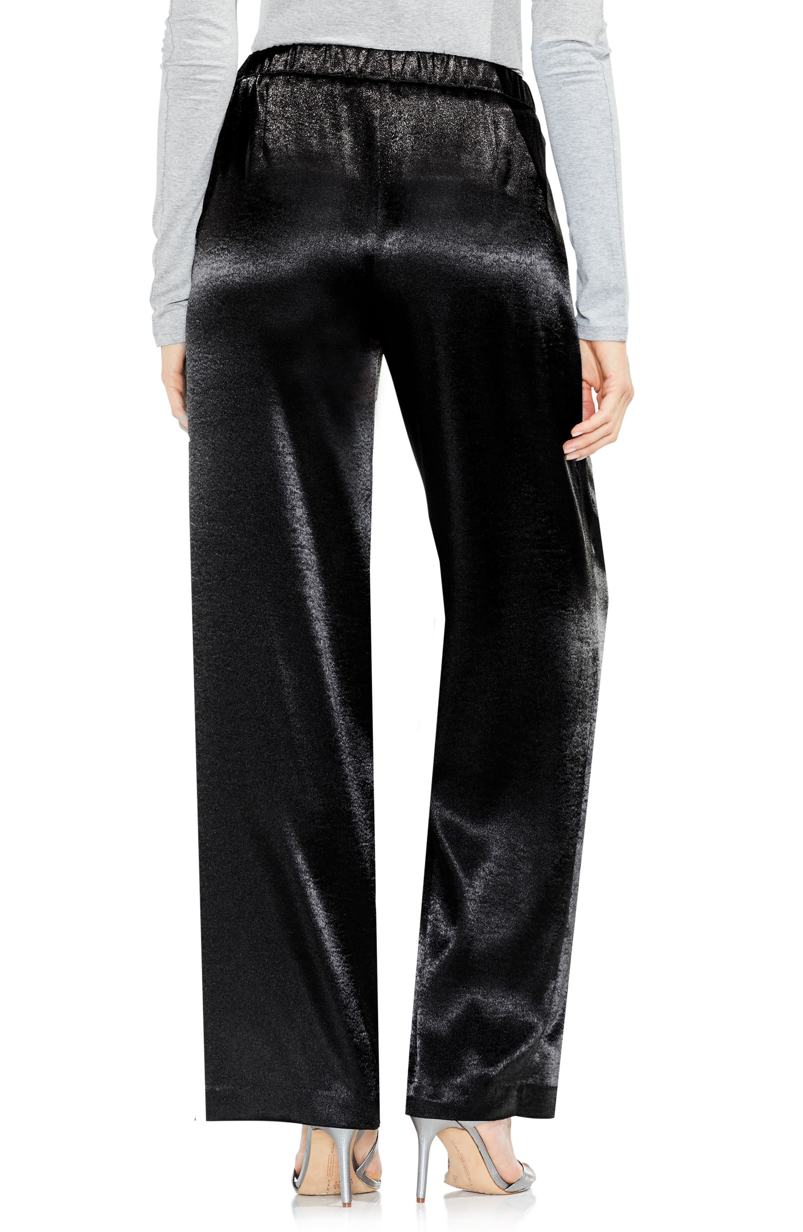 Wide Leg Hammered Satin Pants,                             Alternate thumbnail 2, color,                             006