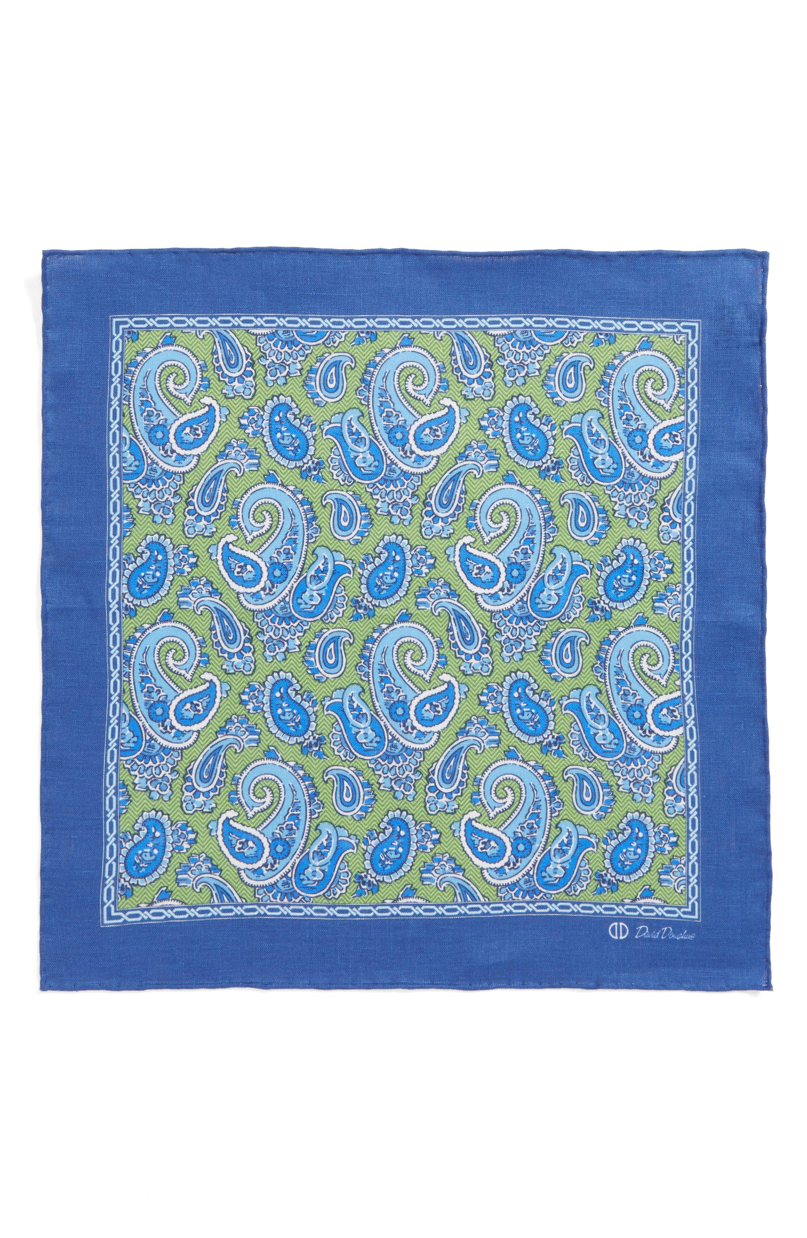 Paisley Linen Pocket Square,                             Alternate thumbnail 5, color,