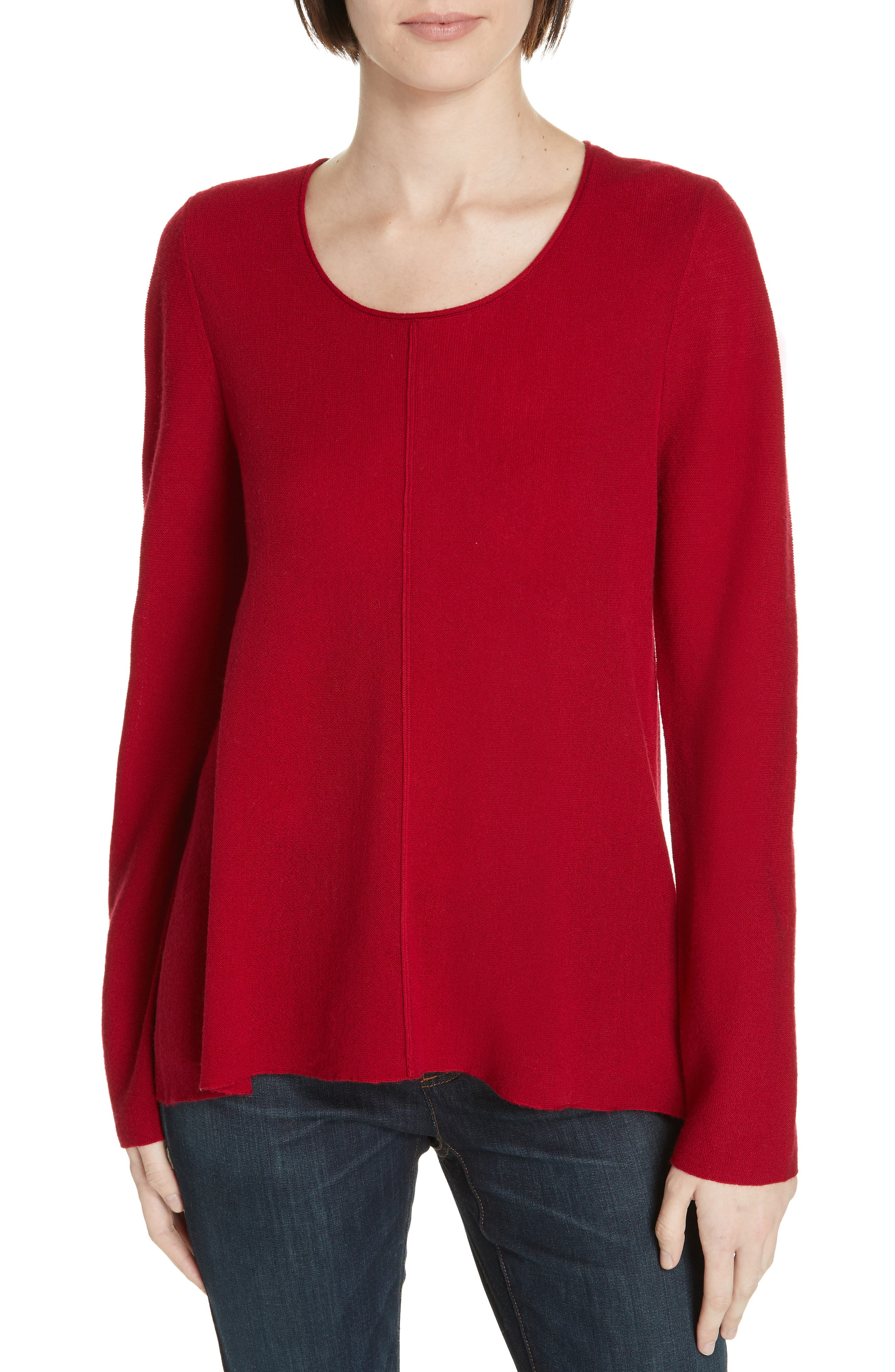 women's eileen fisher merino wool pullover, size xx-small - red