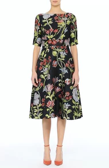 Floral Matelassé A-Line Dress, video thumbnail