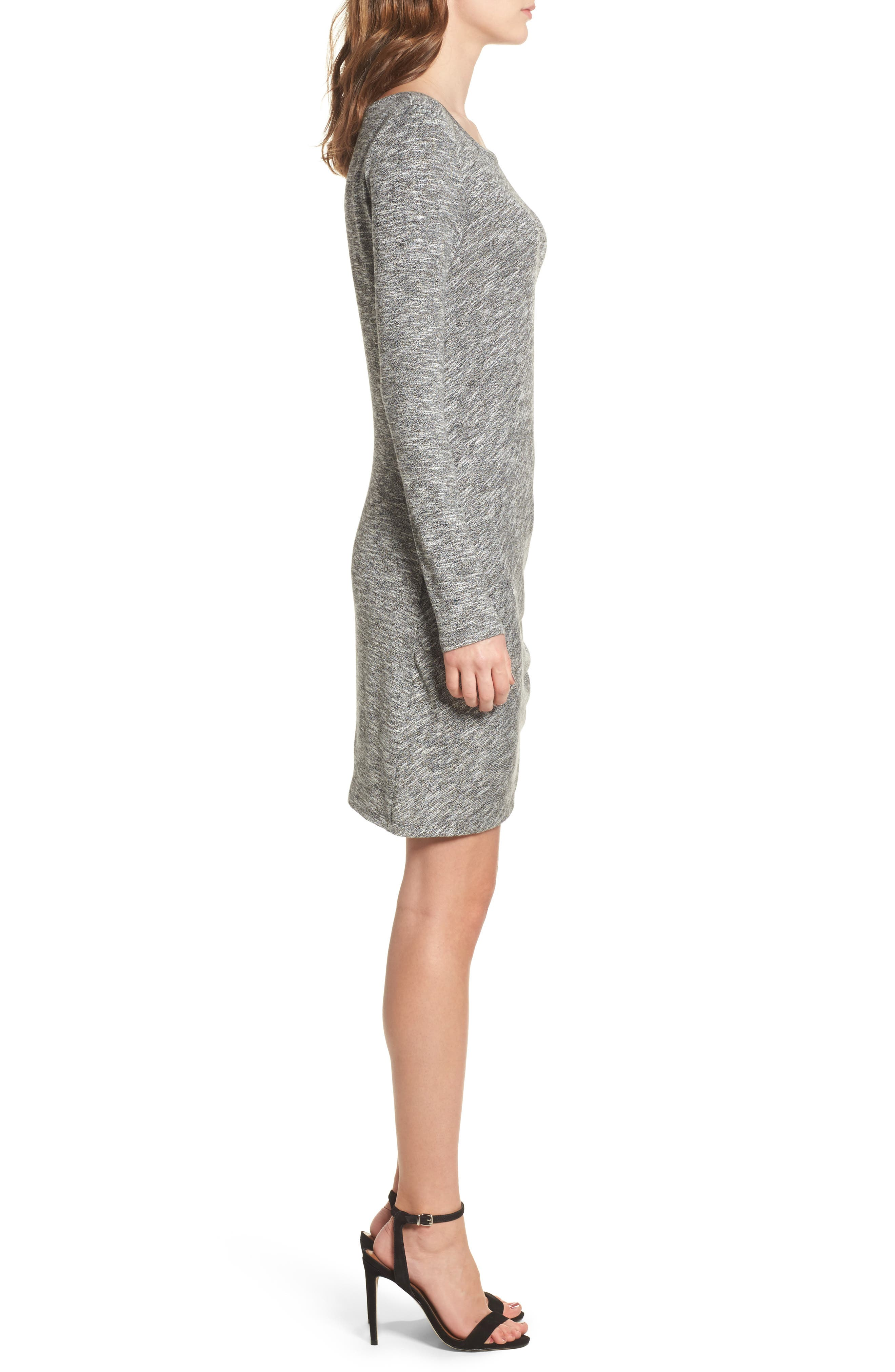 Ruched Knit Dress,                             Alternate thumbnail 3, color,                             020