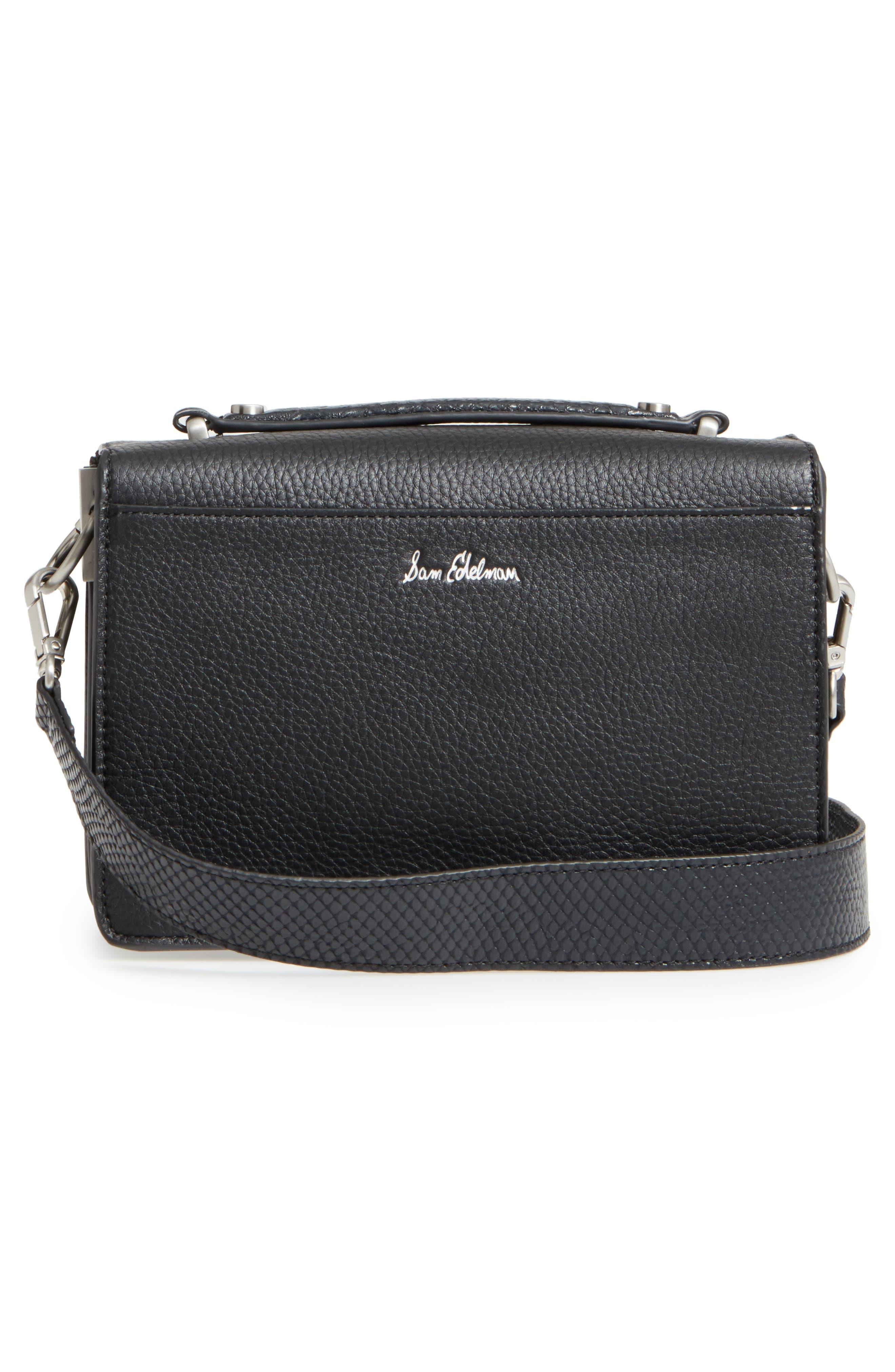 Gessica Leather Shoulder Bag,                             Alternate thumbnail 3, color,                             001