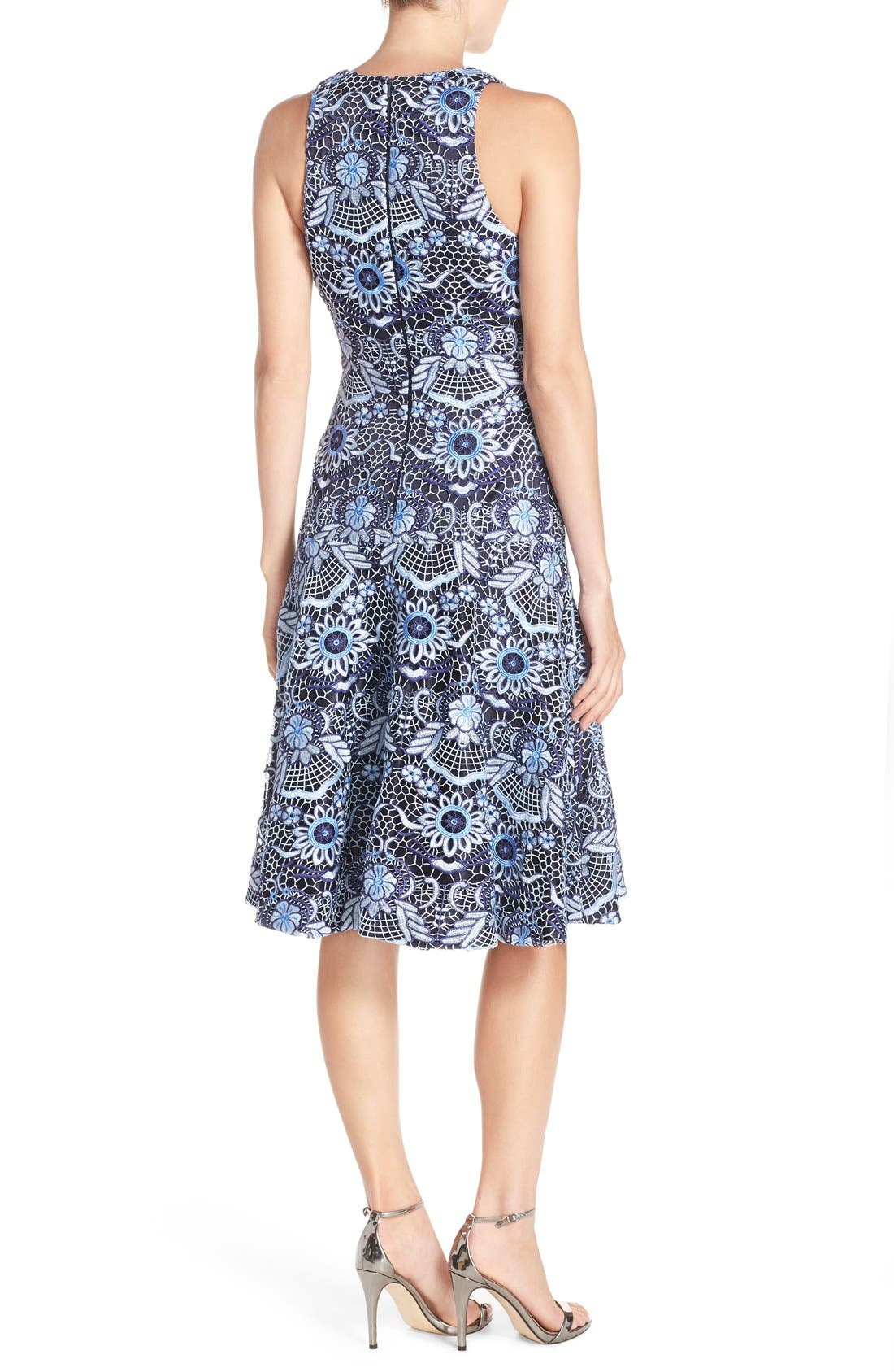 Lace Fit & Flare Dress,                             Alternate thumbnail 4, color,                             410