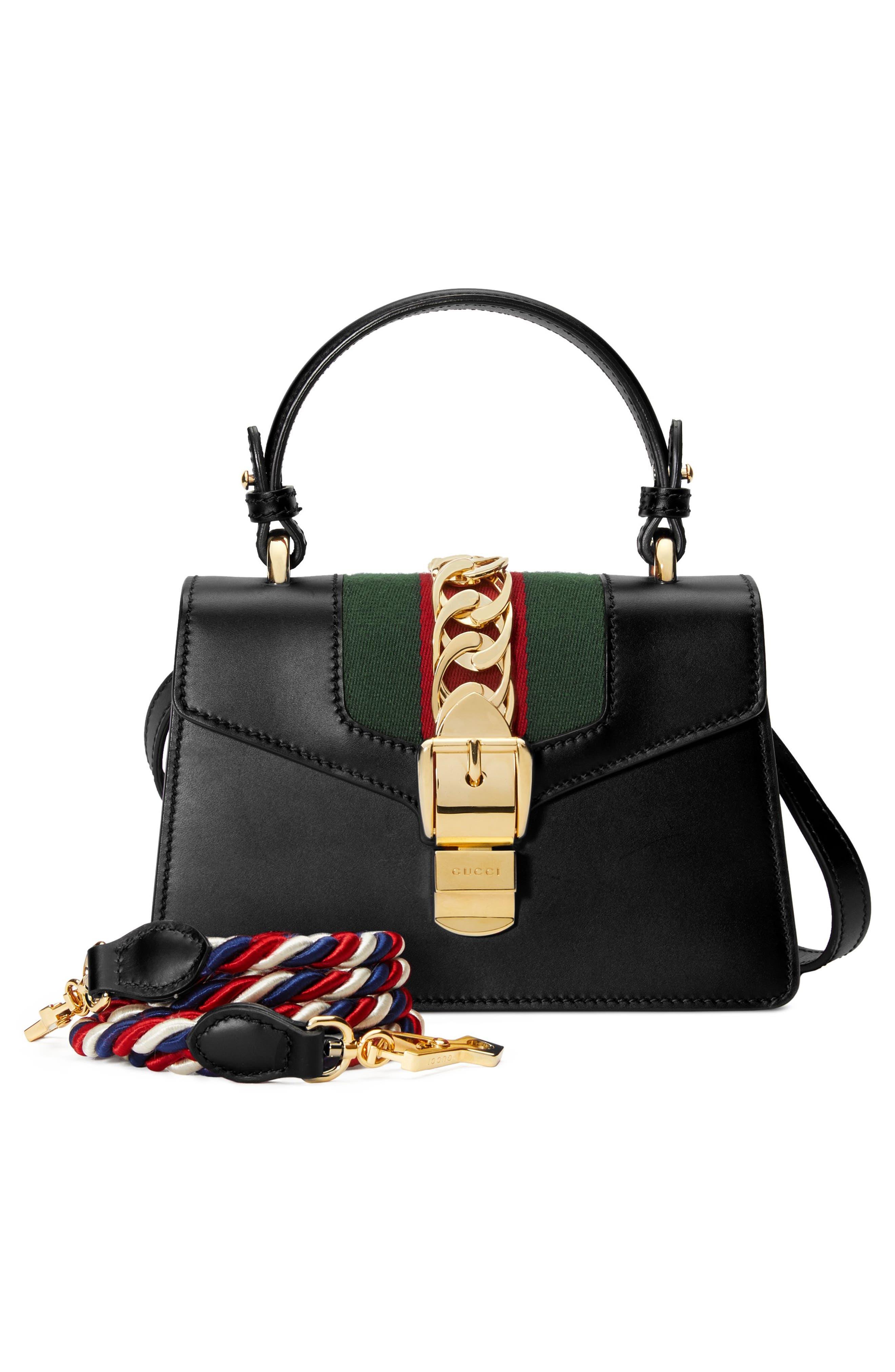 Mini Sylvie Top Handle Leather Shoulder Bag,                             Alternate thumbnail 6, color,                             8639 NERO/VRV