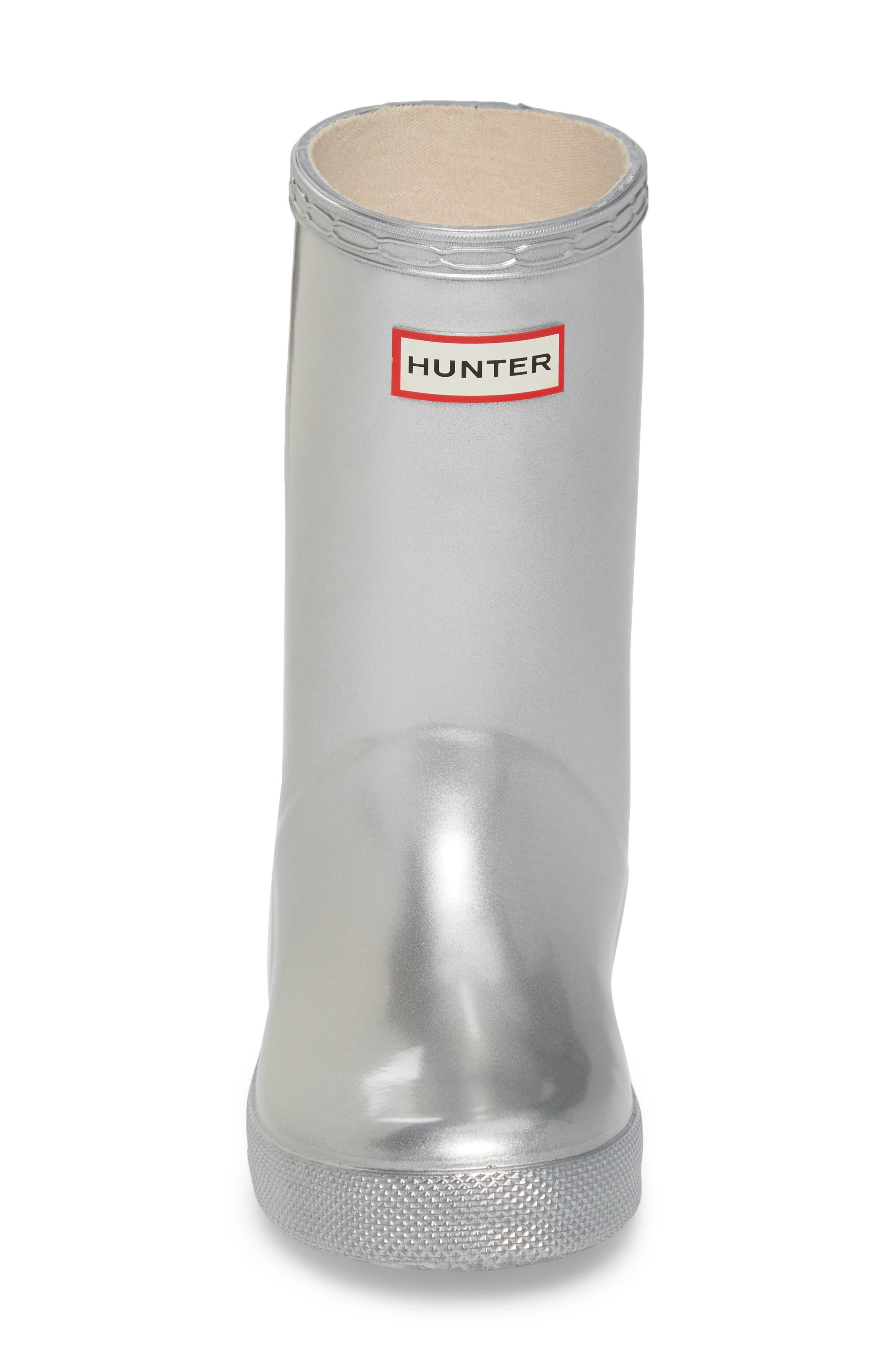 HUNTER,                             First Classic Metallic Waterproof Rain Boot,                             Alternate thumbnail 4, color,                             SILVER
