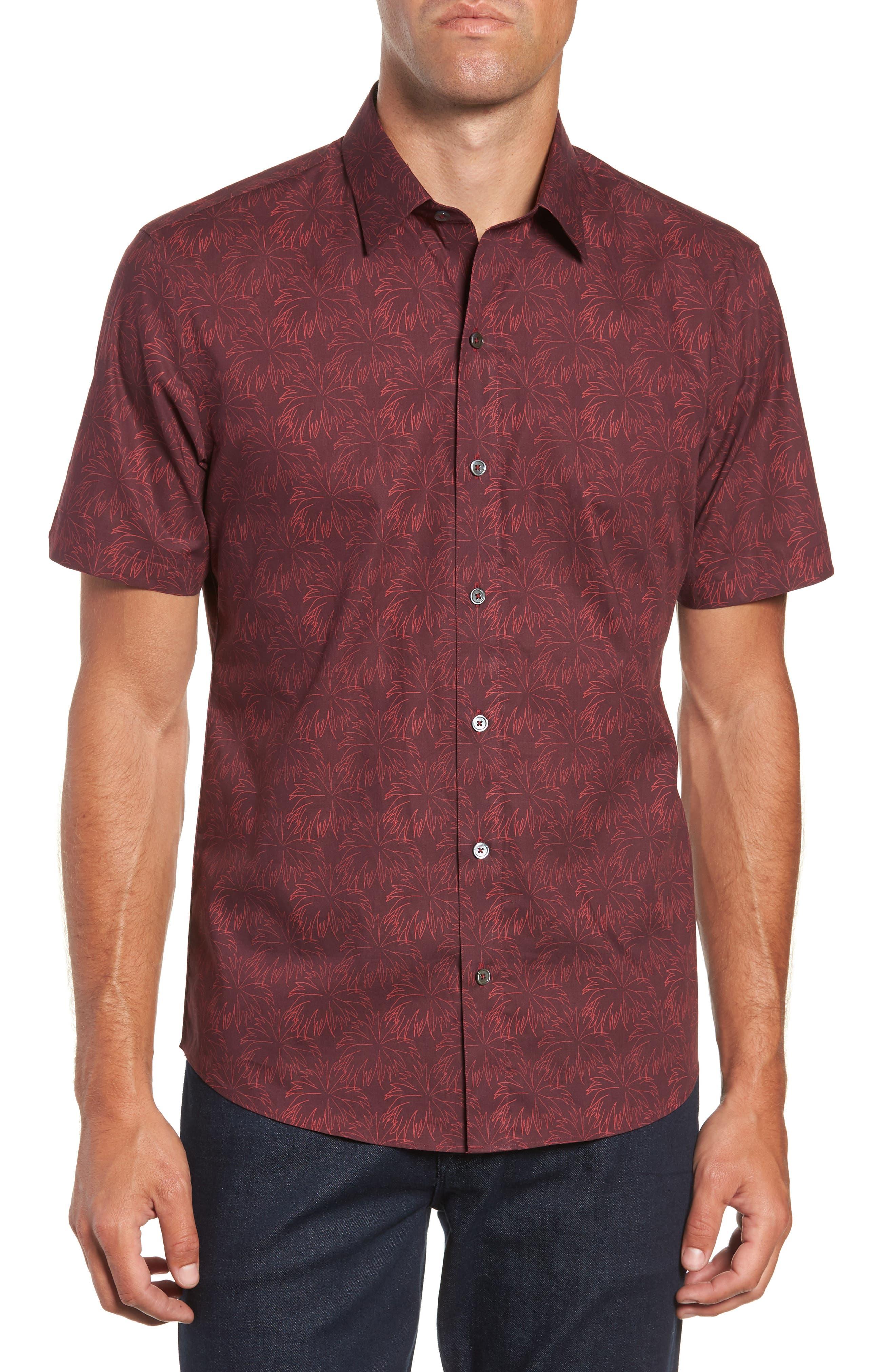 Rinaldi Regular Fit Pattern Sport Shirt,                         Main,                         color, MAROON