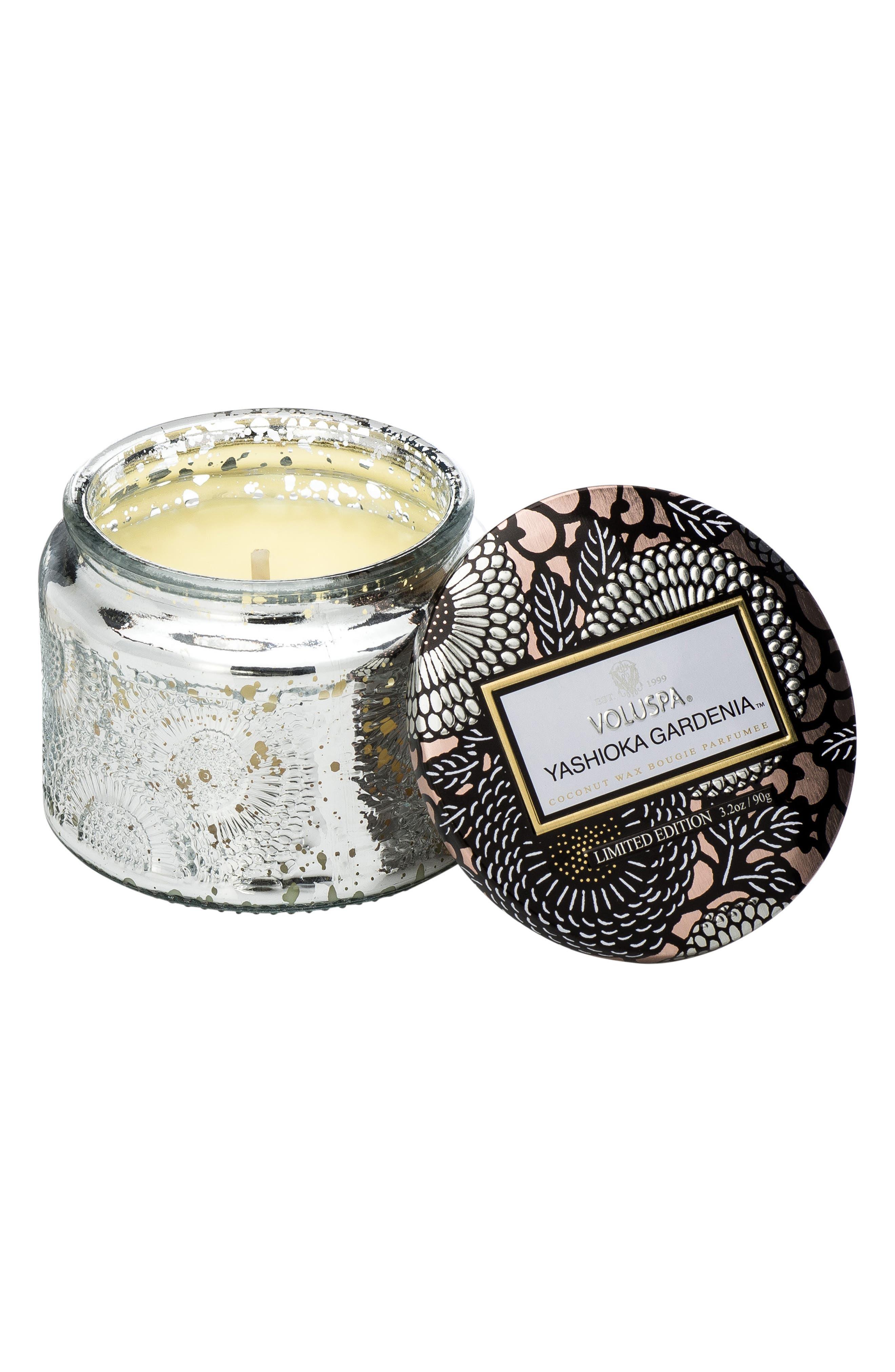VOLUSPA,                             Japonica Yashioka Gardenia Petite Embossed Glass Jar Candle,                             Main thumbnail 1, color,                             YASHIOKA GARDENIA