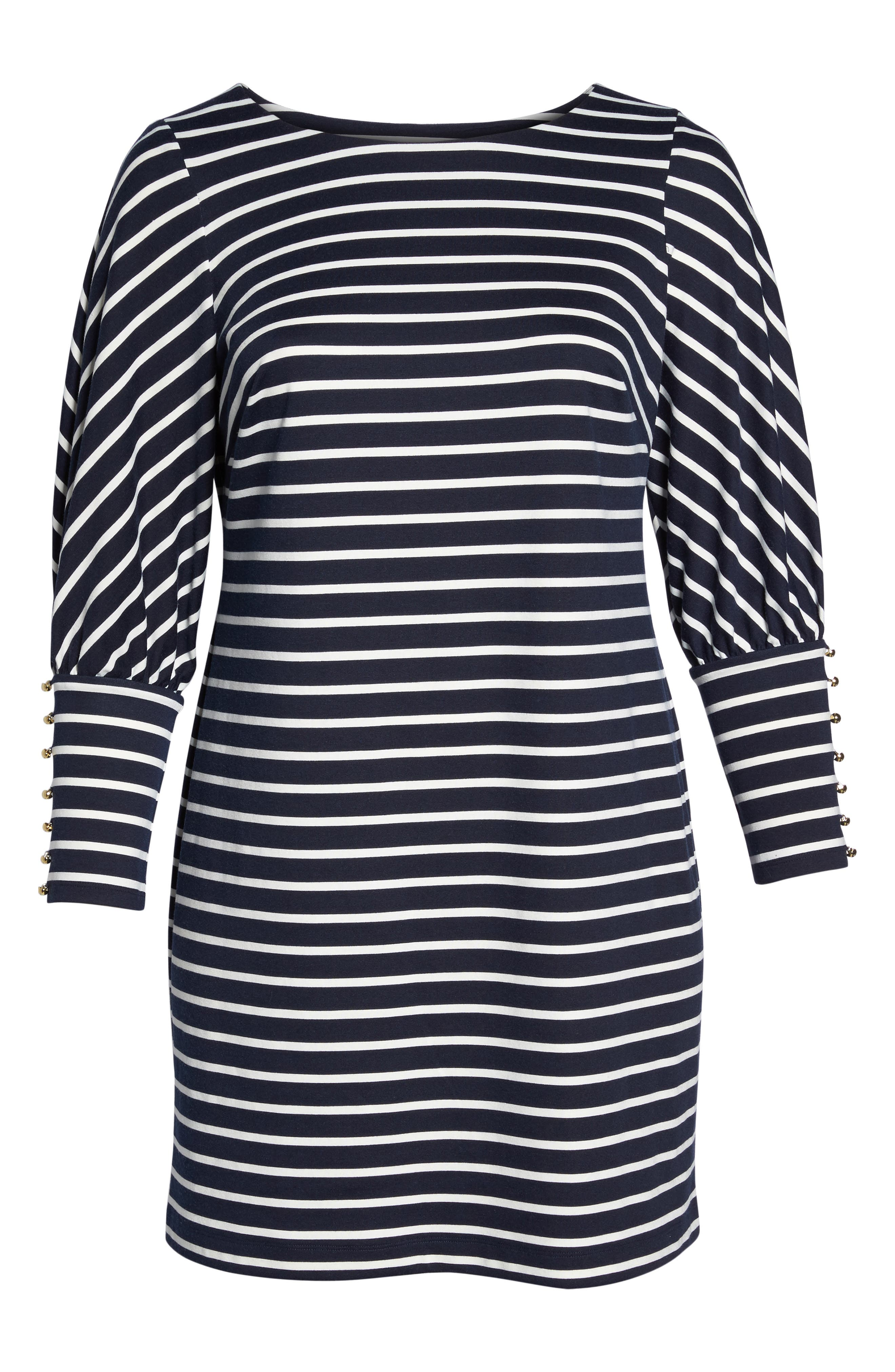 Stripe Ponte Shift Dress,                             Alternate thumbnail 6, color,                             407