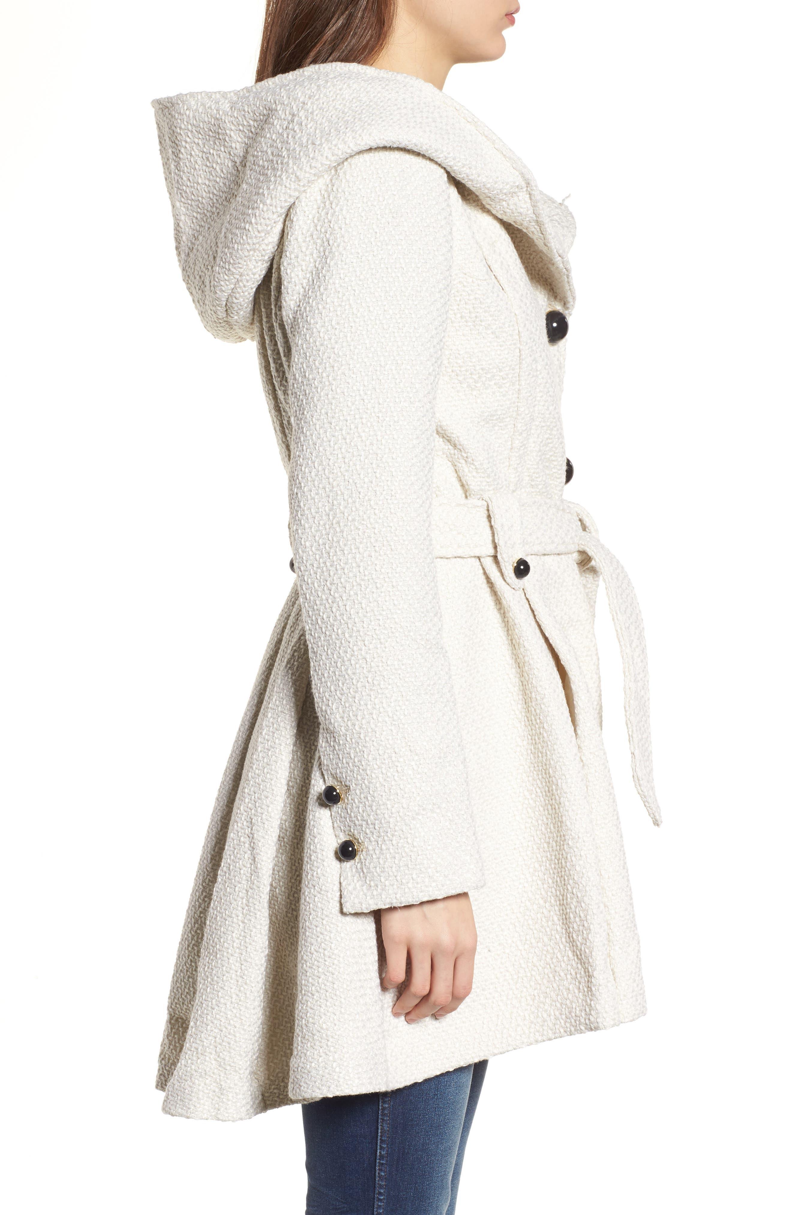 Belted Hooded Skirted Coat,                             Alternate thumbnail 3, color,                             902