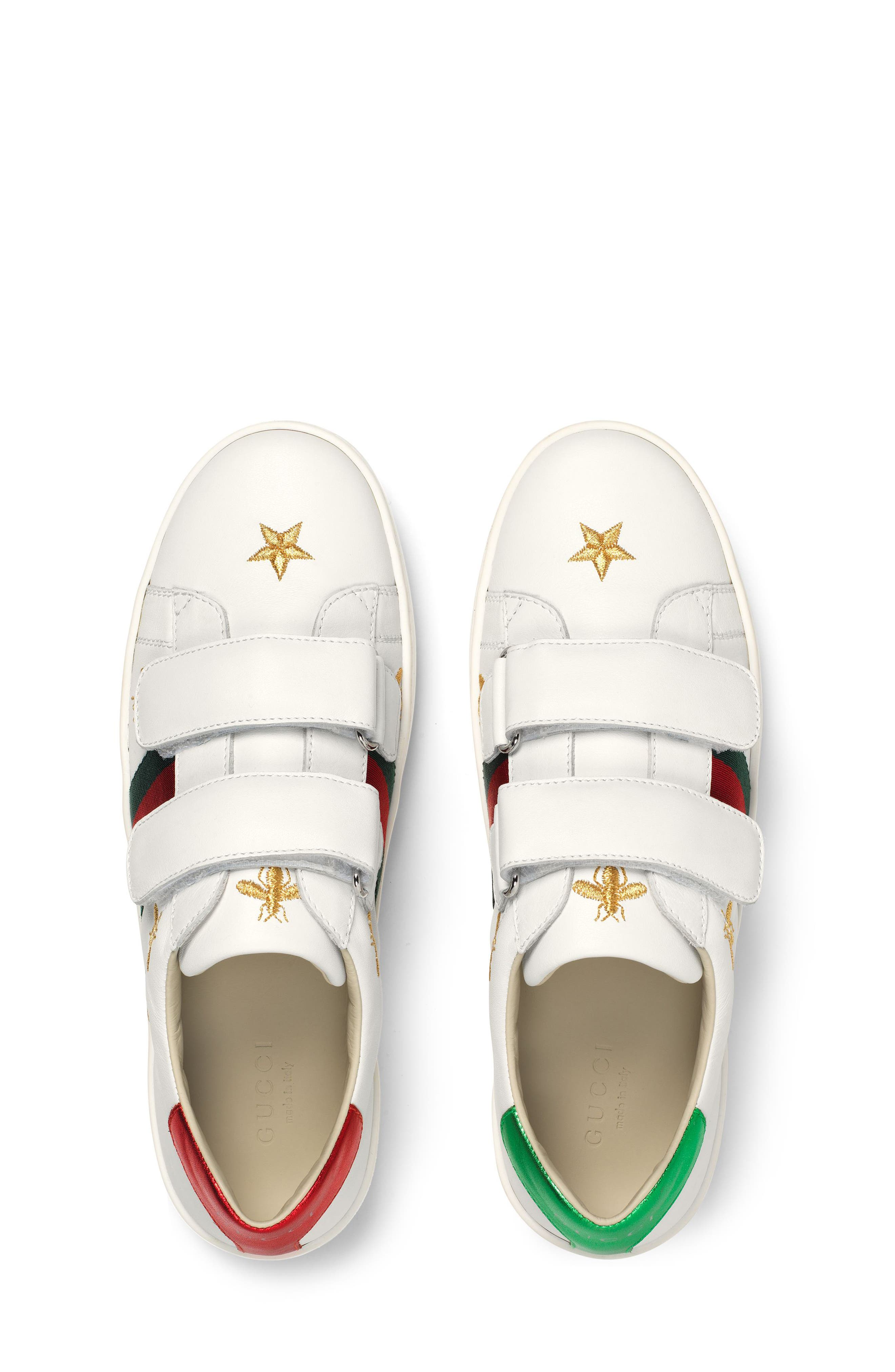 New Ace Embroidered Sneaker,                             Alternate thumbnail 4, color,                             WHITE STAR