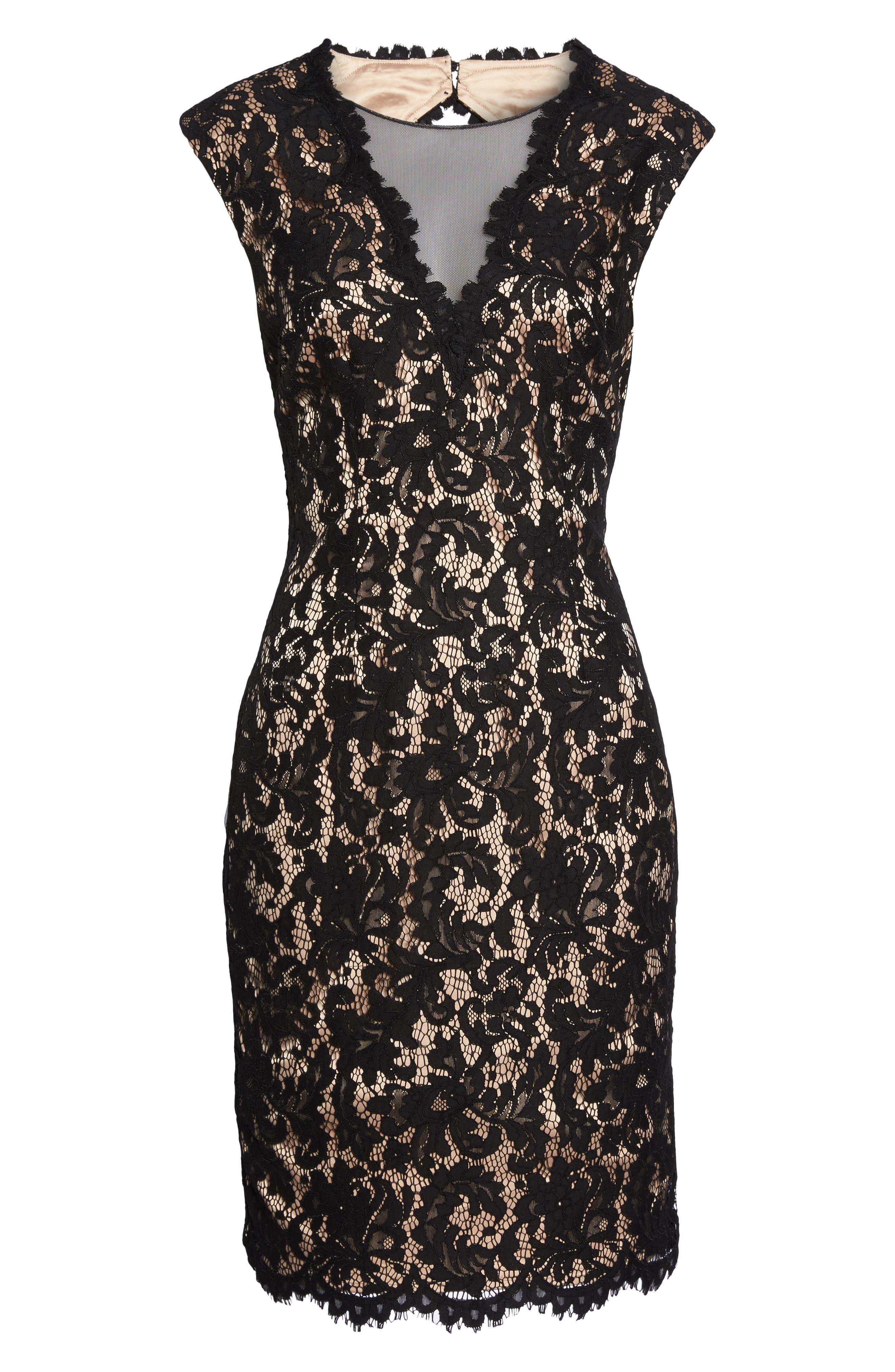 Illusion Lace Sheath Dress,                             Alternate thumbnail 7, color,                             015