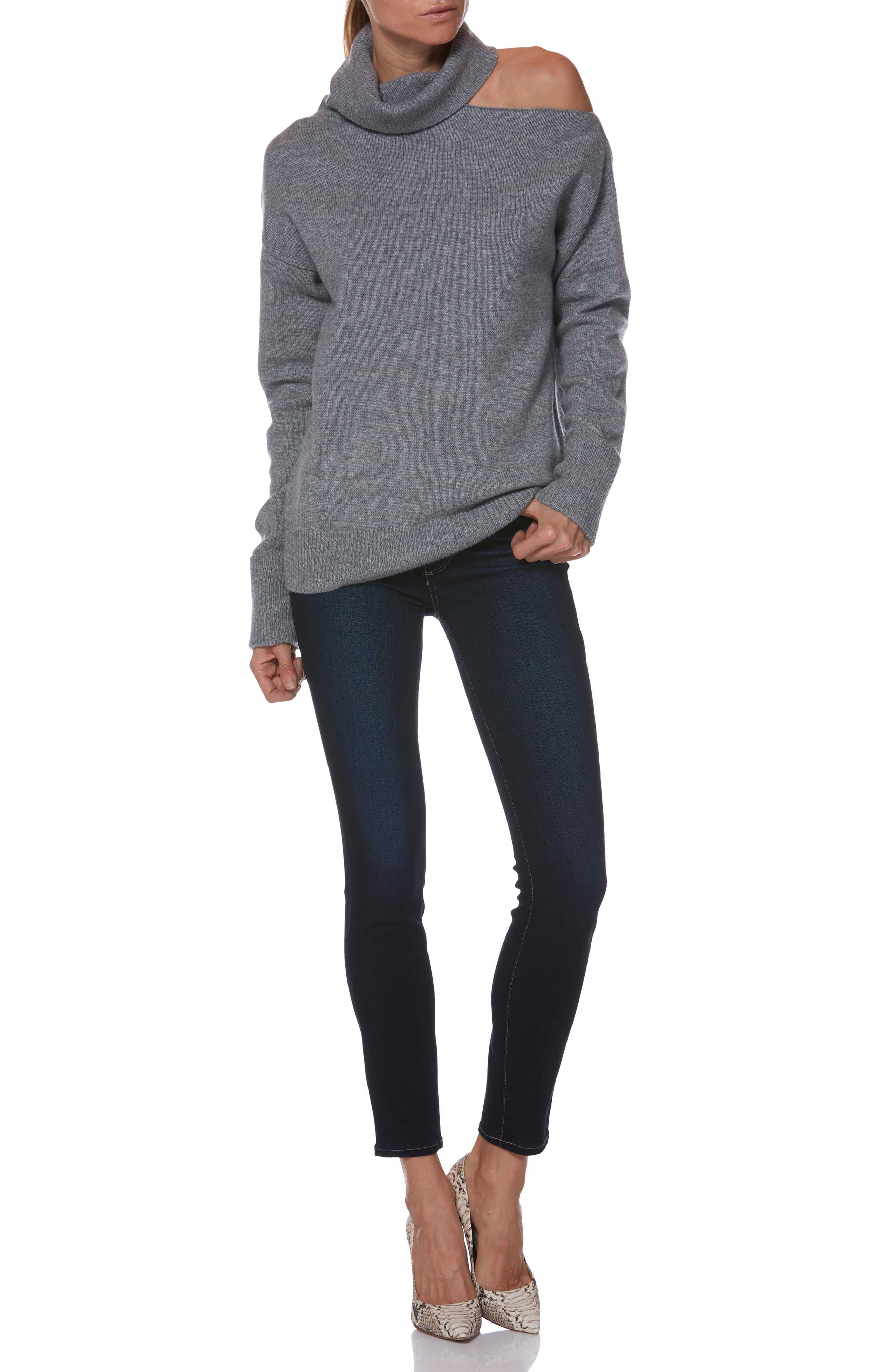 Raundi Cutout Shoulder Sweater,                             Alternate thumbnail 4, color,                             HEATHER GREY