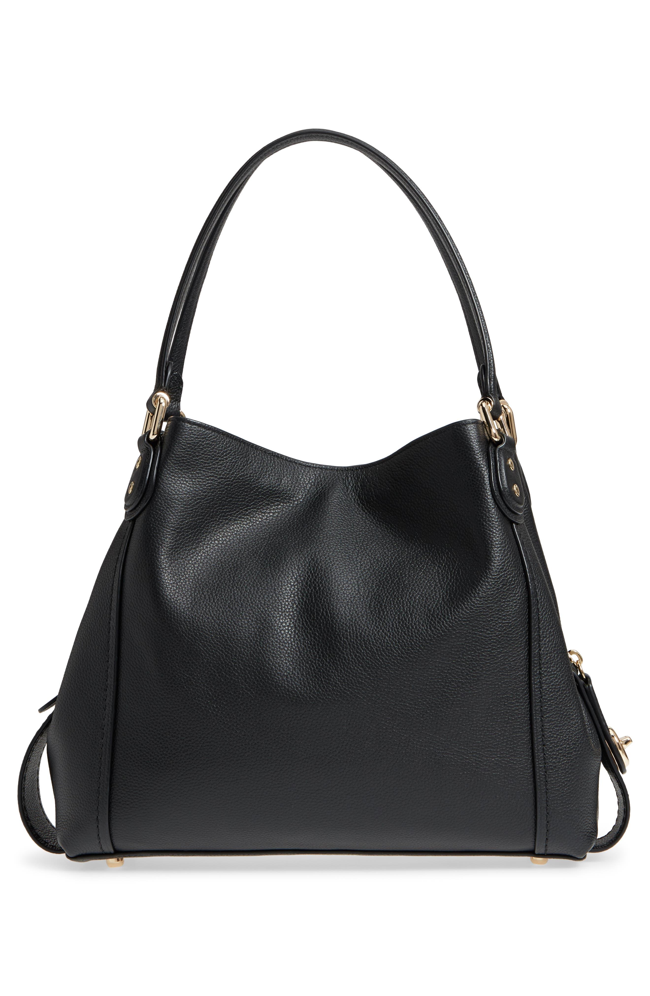Edie 31 Pebbled Leather Shoulder Bag,                             Alternate thumbnail 3, color,                             BLACK