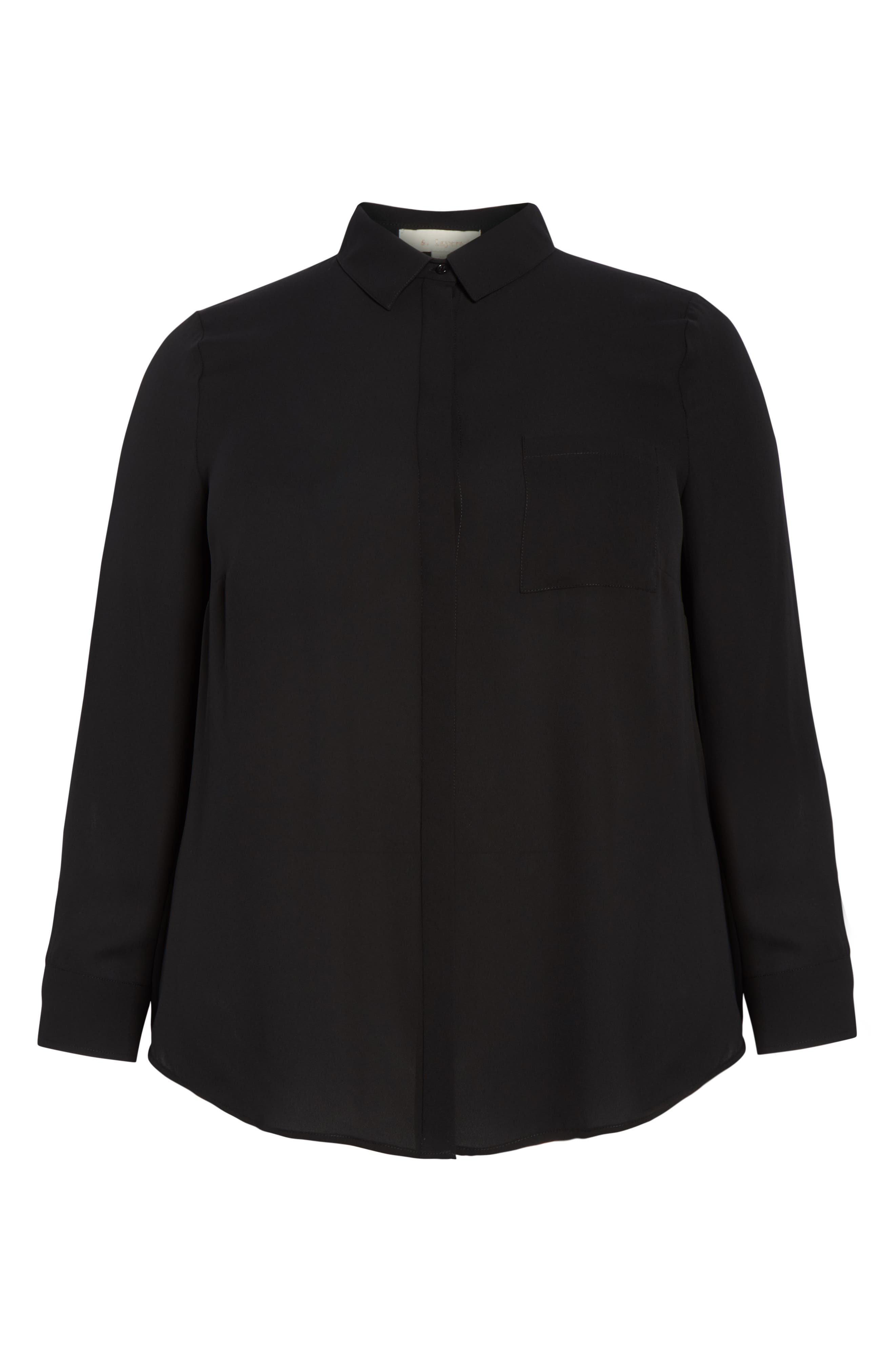 Shirt Collar Blouse,                             Alternate thumbnail 6, color,                             BLACK