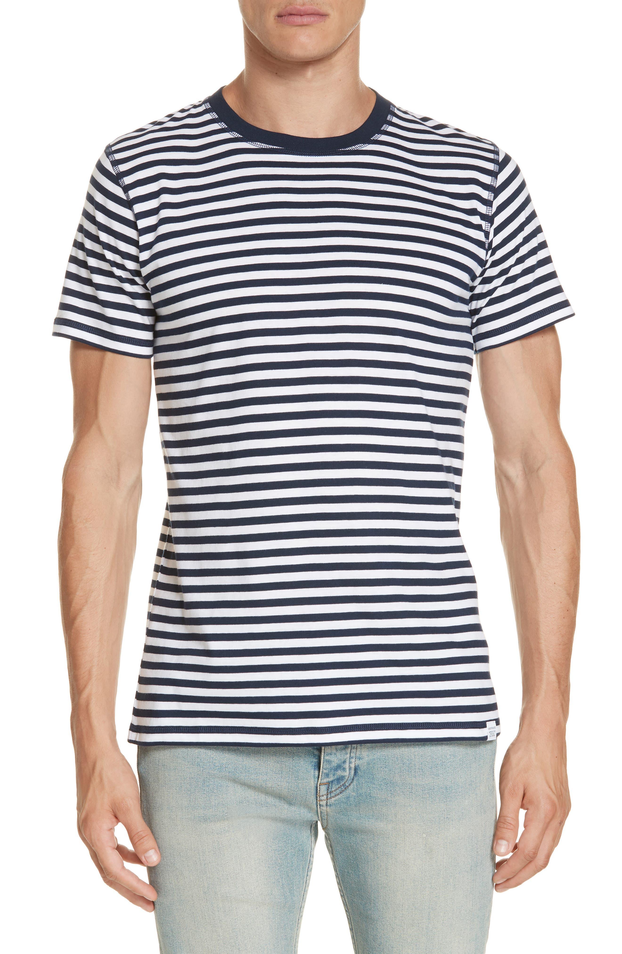 Norse Project Niels Classic Stripe T-Shirt,                             Main thumbnail 1, color,                             BLUE